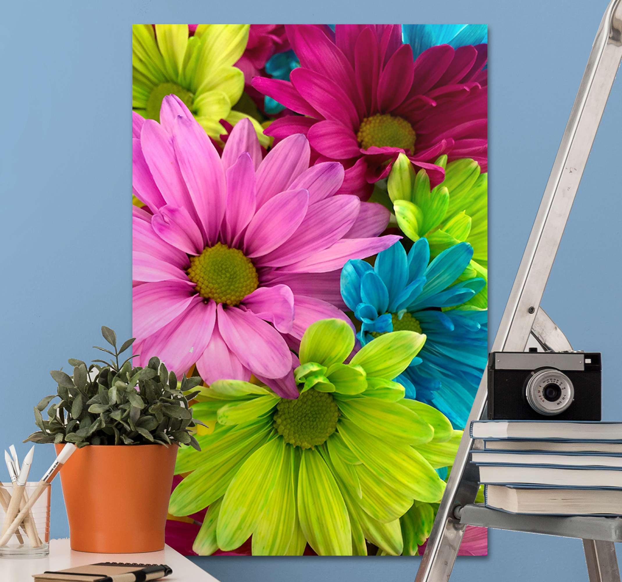 TenStickers. 七彩花朵画布. 使用我们色彩艳丽的花墙艺术画布,您将以原始和现代的方式装饰房屋。容易挂在墙上,很轻。