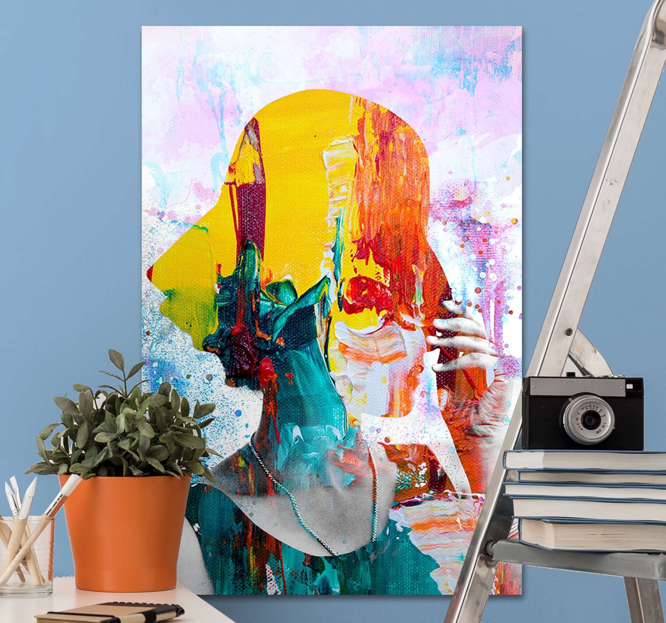 TenStickers. Colorful woman art  canvas art. Colorful woman art  canvas artwork prints. This abstract  wall canvas would beautify your home with an original effect. It is original and light weight.