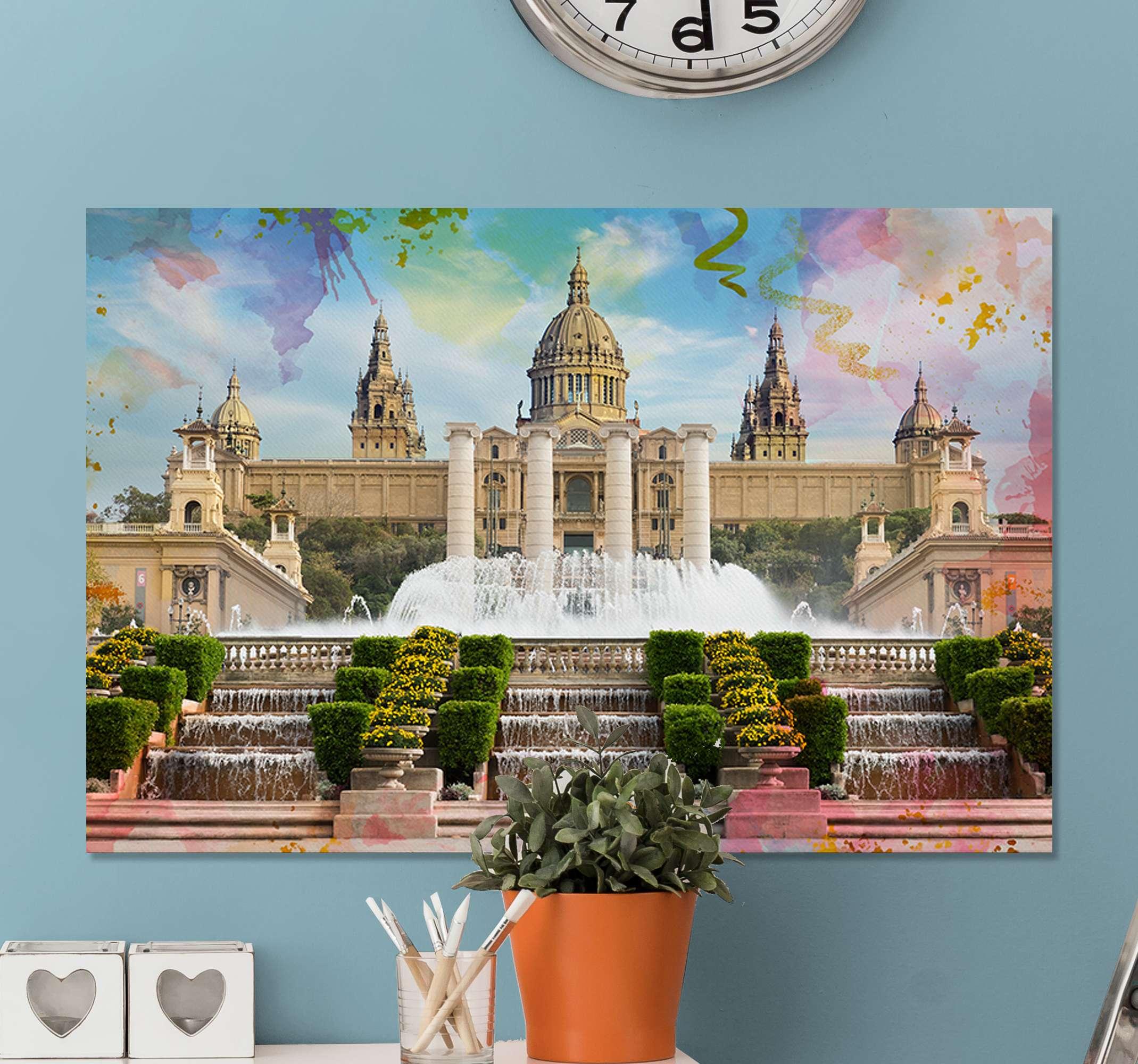 TenStickers. Dipinto di città e paesi Barcellona montjuic. Belle decorazioni rendono le case belle e confortevoli. Con la nostra tela domestica di alta qualità stampata con l'immagine della città di barcellona montjuic.