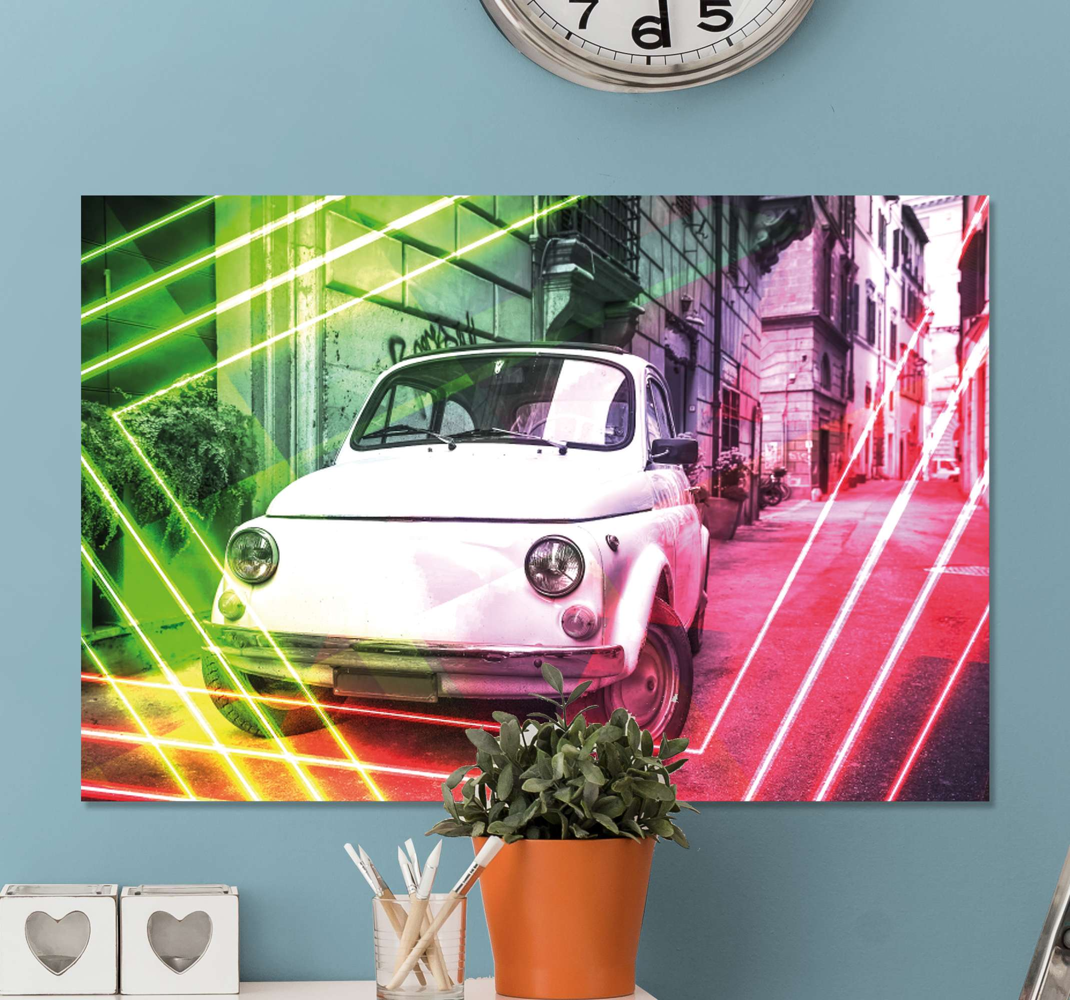 TenStickers. classic white and red coupe City skyline prints. City canvas wall art made of the best quality and material the image of a car from the old times in the country of Italy to decorate your home.