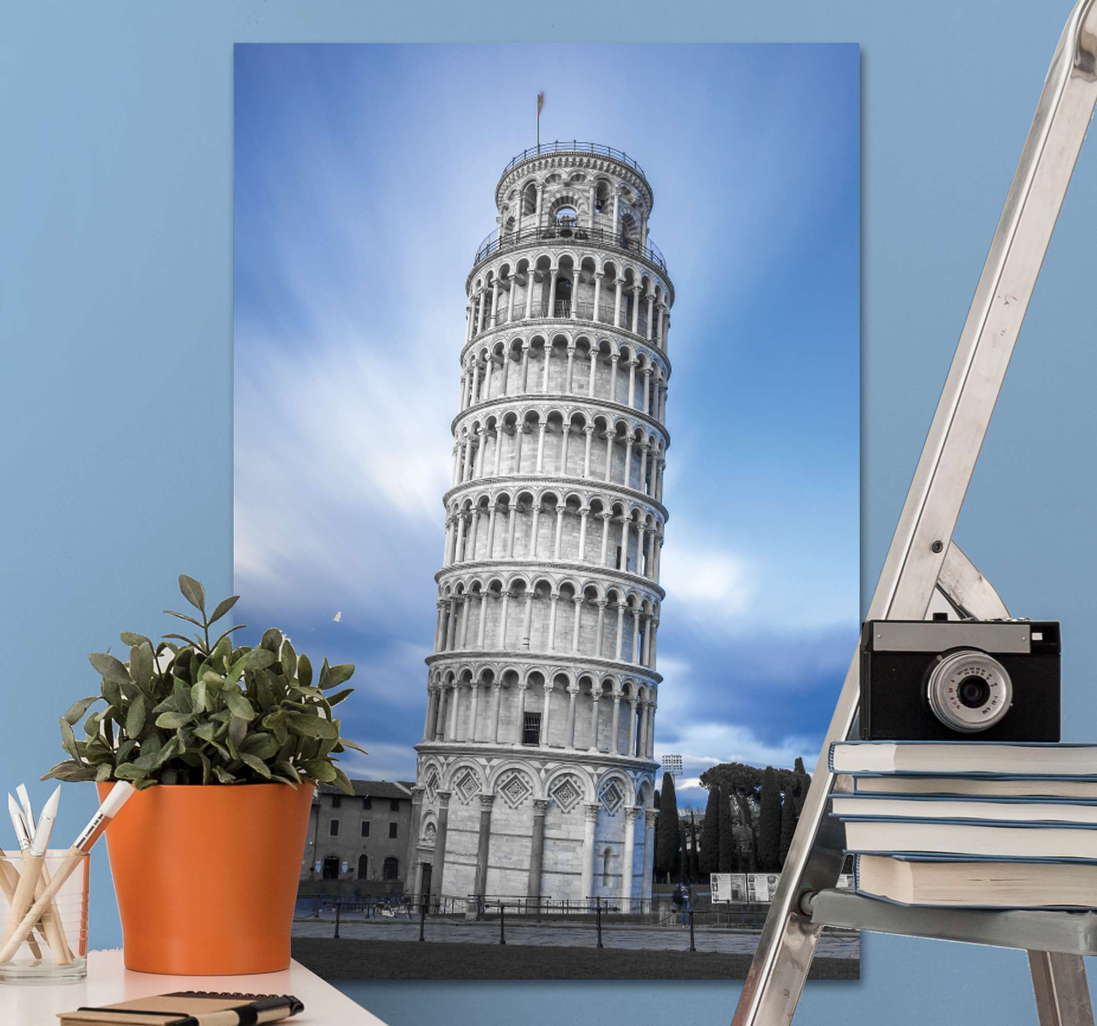 TenStickers. Tower of Pisa Italy City skyline prints. Magnificent city attraction canvas print of the lean tower of Pisa in Italy. The canvas design is great for an office and home decoration.