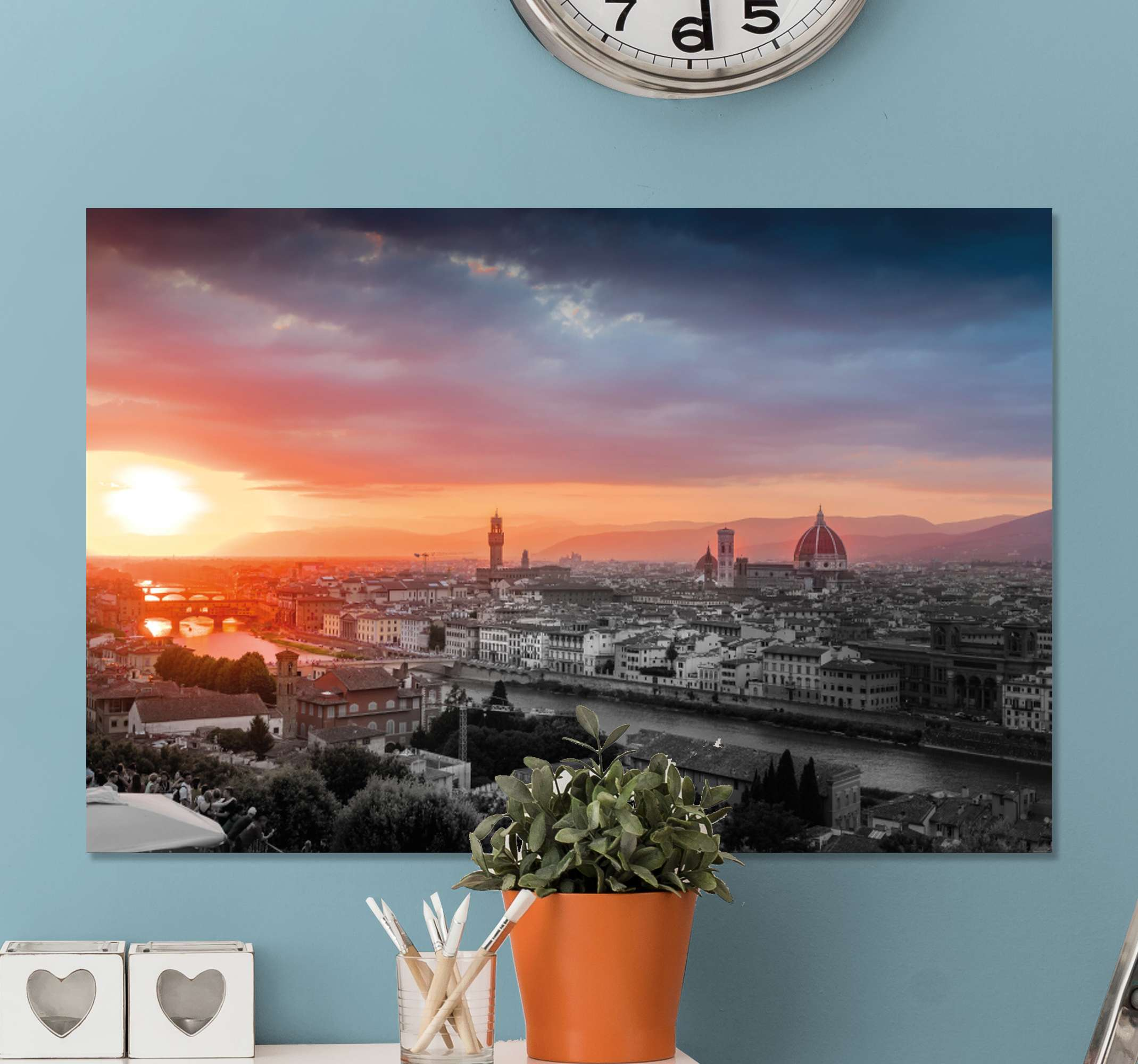 TenStickers. Sunset in Florence City skyline prints. Sunset skyline canvas print of Florence city Italy. The design shows the over view of the city's metropolis at sunset. Printed in high quality finish.