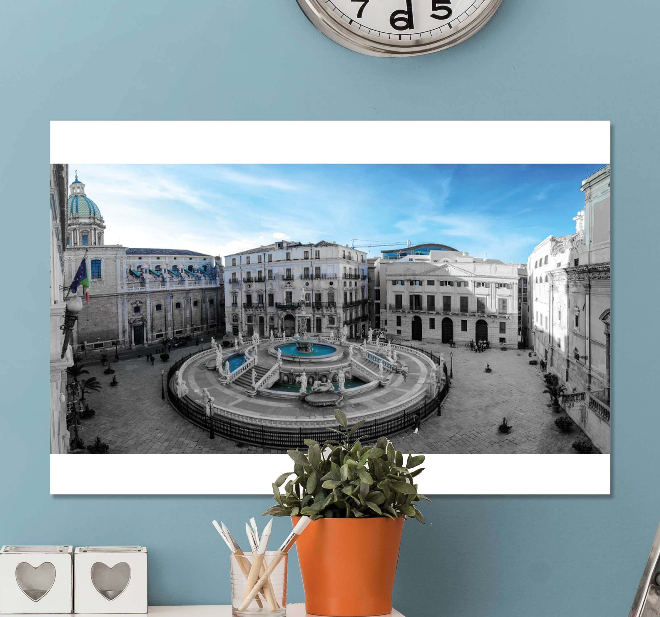 TenStickers. Piazza Pretoria in Palermo City skyline prints. With our original Piazza Pretoria in Palermo  city canvas wall art you can decorate your home in a modern and elegant way. Original and durable.
