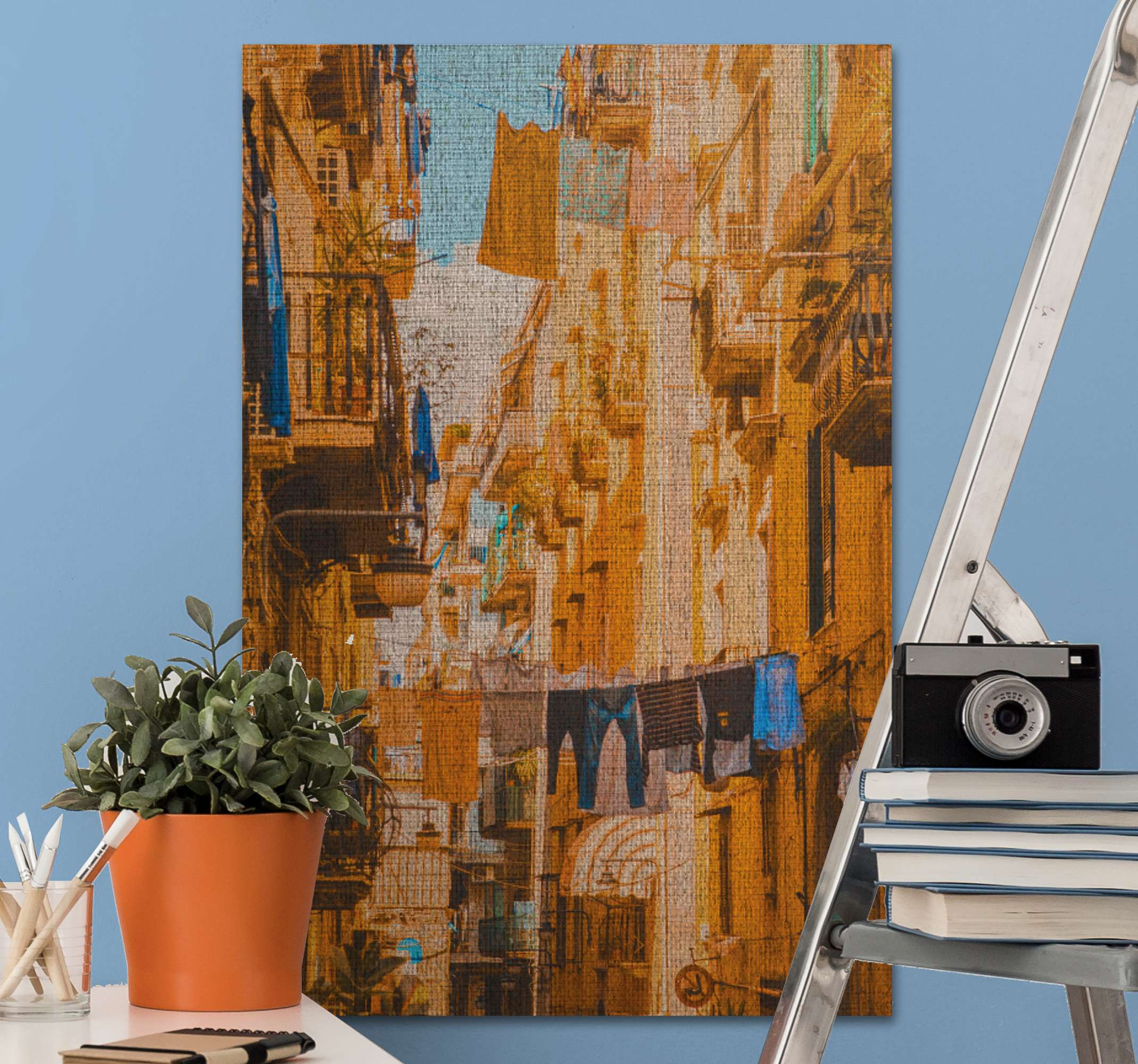 TenStickers. clothes hanges on clothesline in naples City skyline prints. City canvas wall prints of Naples  for urban neighborhood art lovers. This design illustrates the busy street of Naples with clothes hanged on line.