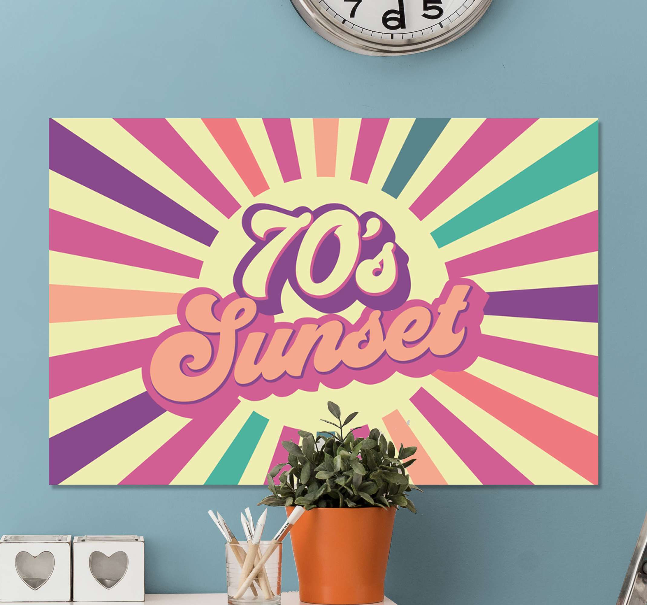 TenStickers. 70年代几何阳光帆布墙艺术. 用我们原始的70年代几何阳光帆布印花为您营造一个宁静而舒缓的氛围。它是原始且耐用的。