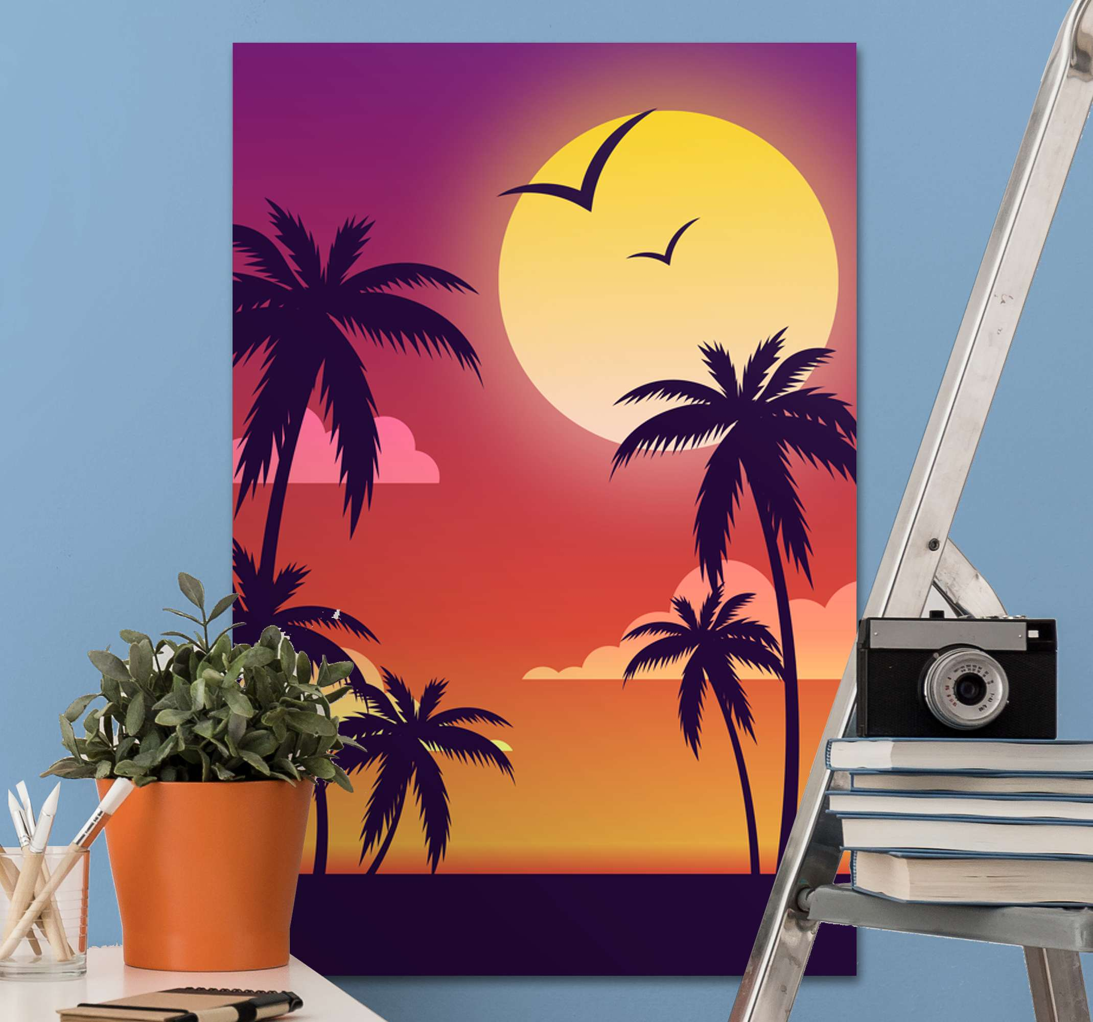 TenStickers. 70's sunset vertical landscape wall art. 70's sunset vertical landscape canvas. A soothing and calm beach inspired canvas art displaying every feature of a beautiful beach view at sunset.