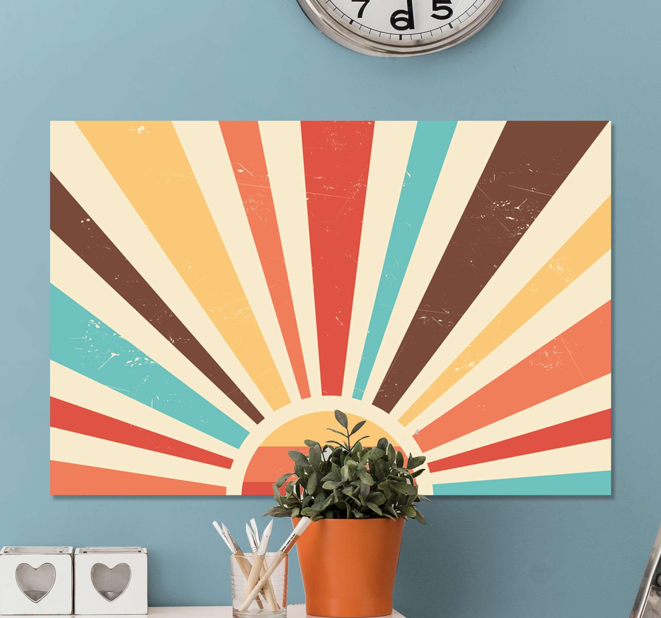 TenStickers. Abstrakt vintage solnedgang 70'erne lærred væg kunst. Dejligt landskab lærred væg kunst med design, der illustrerer solbrydning i forskellige farve linjer. Egnet lærred til hjemmet, til kontor, butik osv.