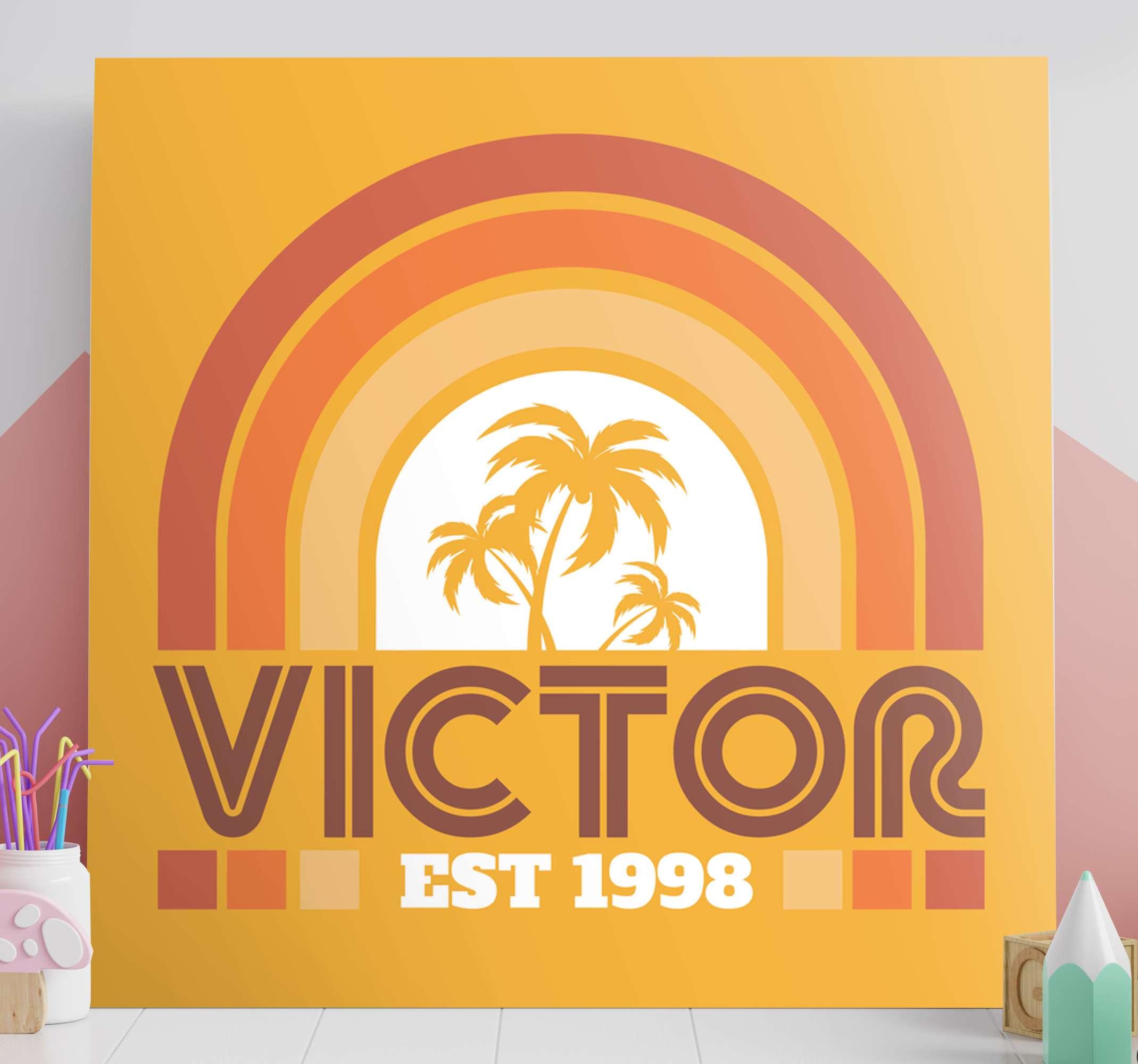 Tenstickers. Retro solnedgång och palmer 70-talet duk väggkonst. Retro solnedgång och palmer 70-talets dukavtryck. Duken kan anpassas med din egen text och det är härligt att dekorera valfritt utrymme.