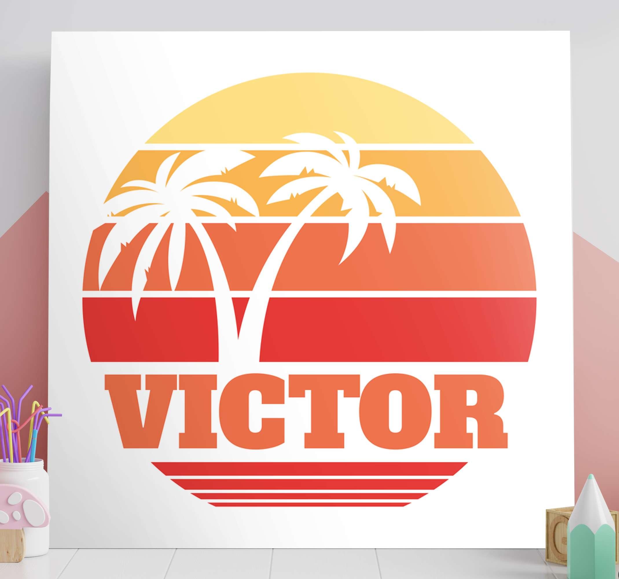 TenStickers. Tableau personnalisé texte Coucher de soleil rétro avec votre nom. Impression sur toile de paysage de coucher de soleil vintage de nom personnalisé. Belle toile adaptée pour décorer n'importe quelle partie d'une maison ou d'un autre espace.
