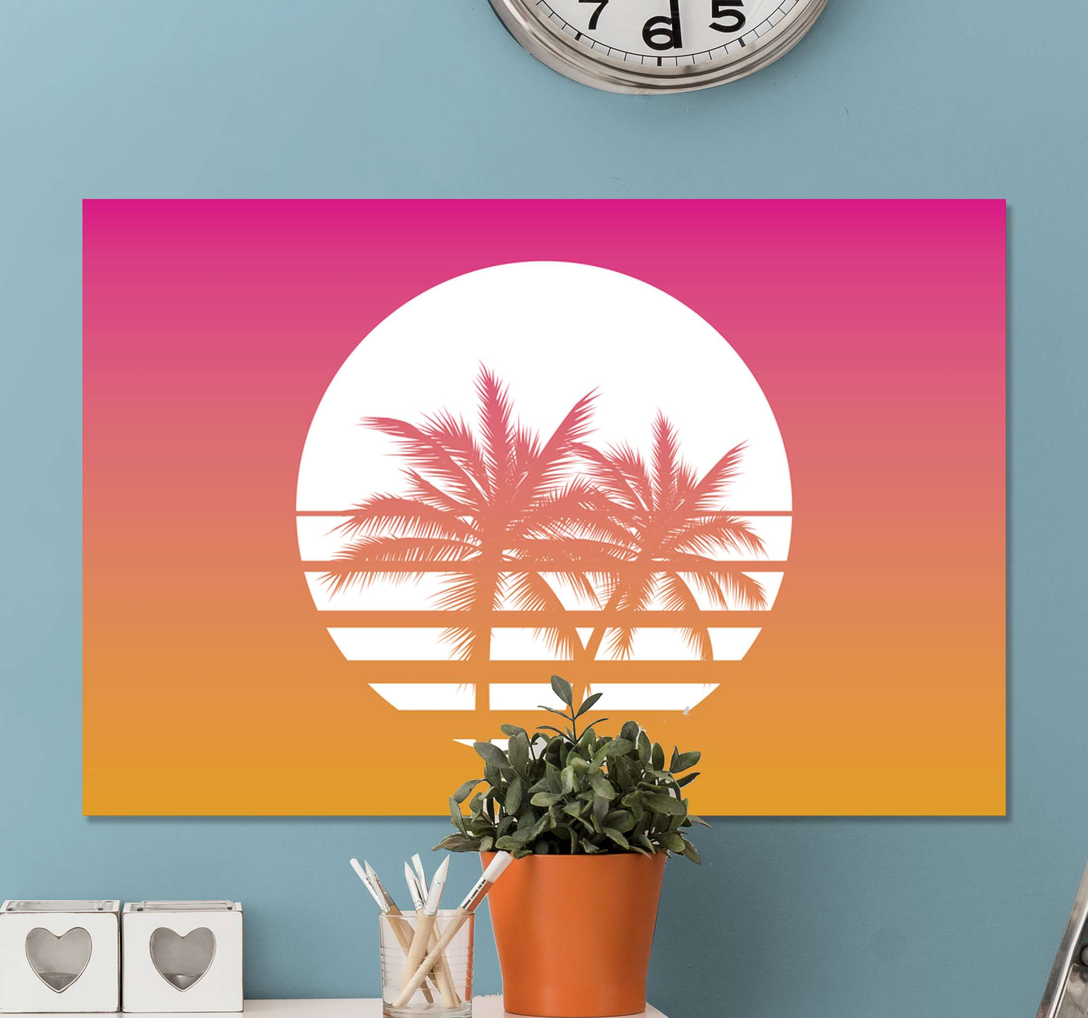 TenStickers. Sunset vintage landscape wall art. 70's vintage landscape canvas with design of palm tree with sunset effect to decorate your home or office to create nature's present in it.