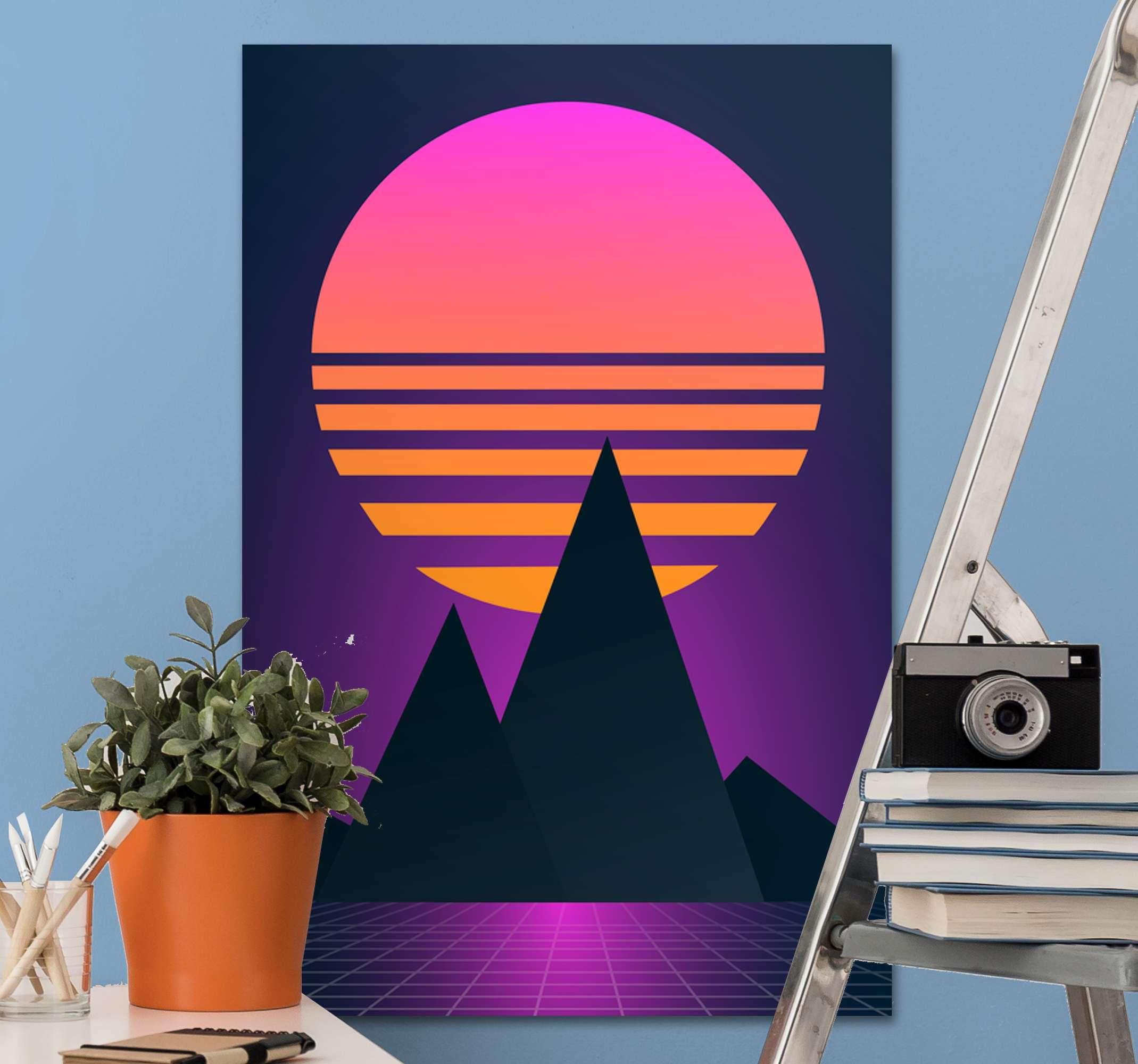 TenStickers. Canvas natuur landschap Vintage en retro zon verticaal. Verticale landschap canvas voor uw huis, kantoor en andere ruimtedecoratie. Een canvas schilder met een mooi ontwerp dat het uitzicht op de bergen bij zonsondergang illustreert.