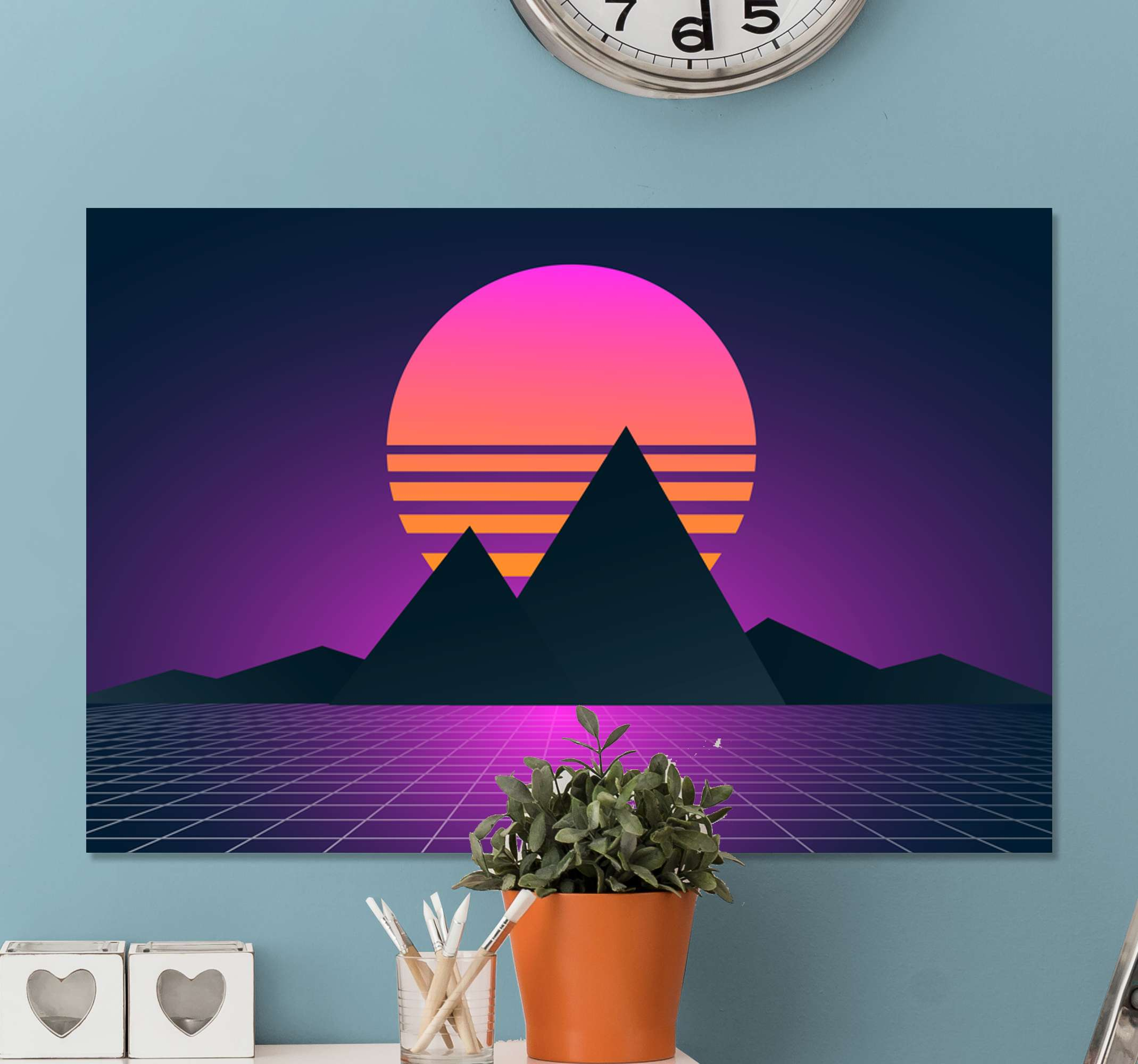 TenStickers. Vintage and retro sun landscape wall art. Landscape picture canvas print for your house, office and other space decoration. A canvas with lovely design illustrating mountain view at sunset.