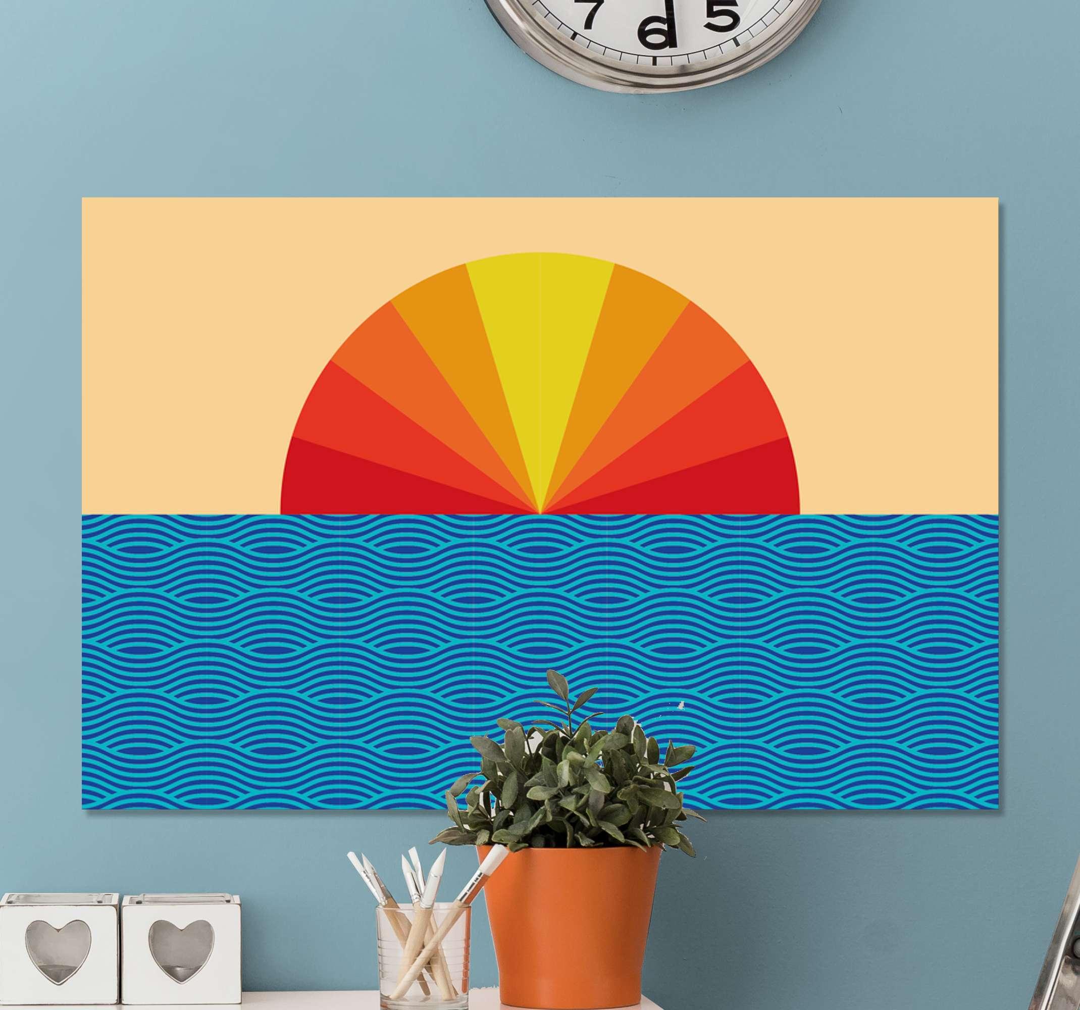 TenStickers. 复古日落70年代帆布墙艺术. 老式的日落70年代的帆布版画与太阳的折射颜色与海浪的景观插画设计。原始,耐用且重量轻。