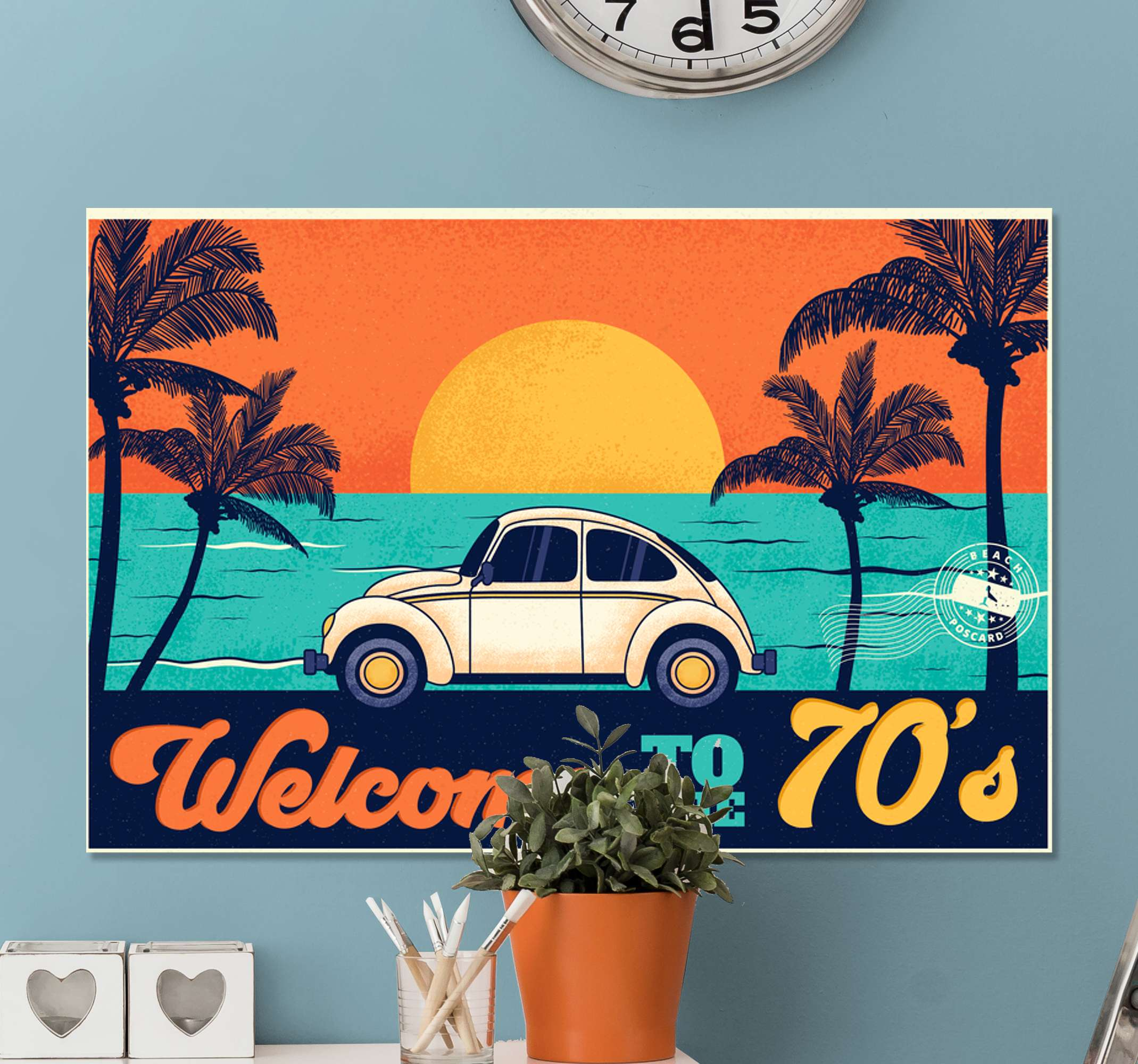 TenStickers. Welcome to 70's vintage wall prints. Decorative portrait  vintage landscape canvas print containing design of a beach landscape, sunset with palm trees and a parked vintage parked car.
