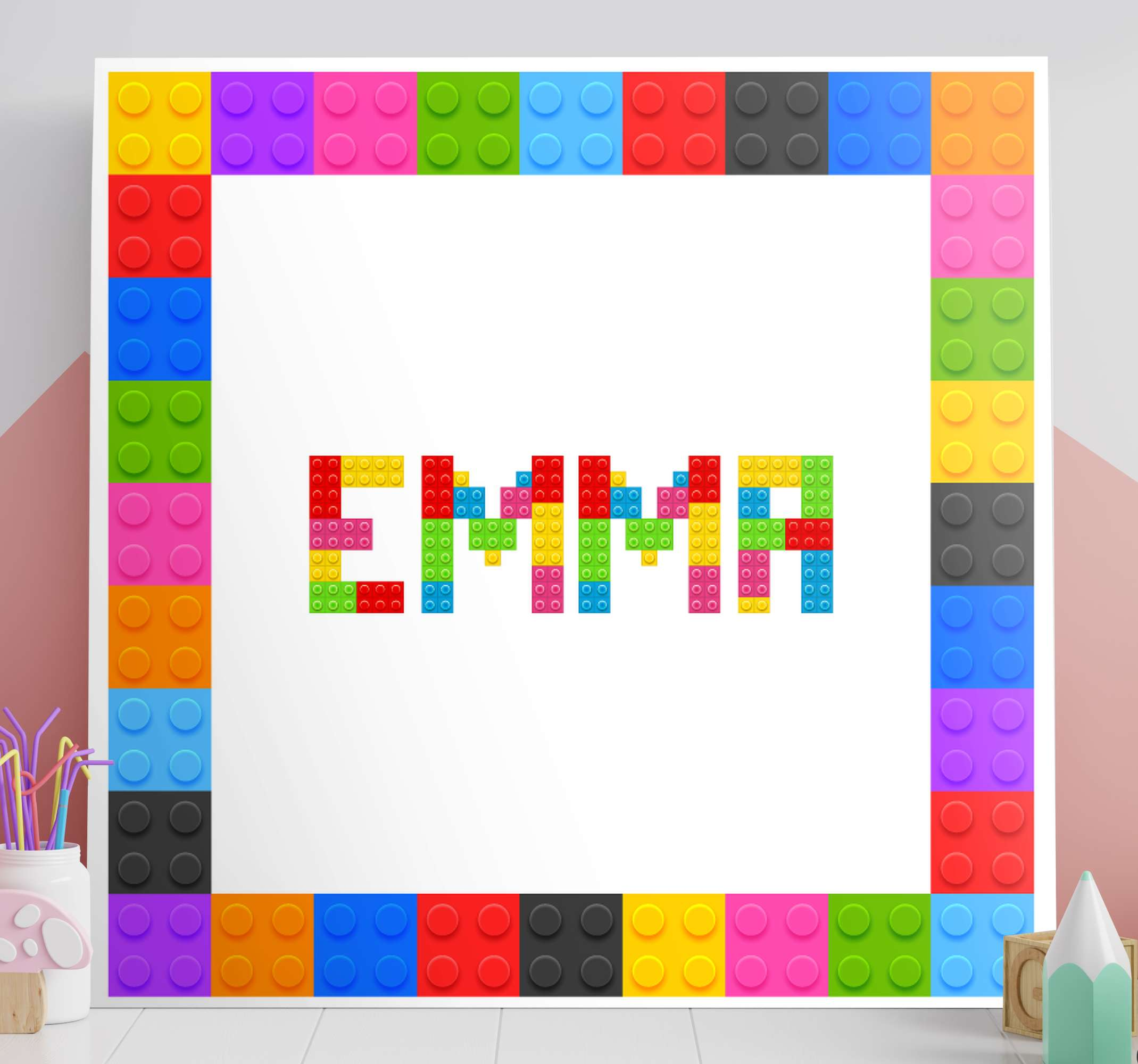 TenStickers. Name from lego customisable canvas prints. Personalist name canvas print with name. Lovely canvas for children bedroom, it design is an assembly of Lego bricks texture.