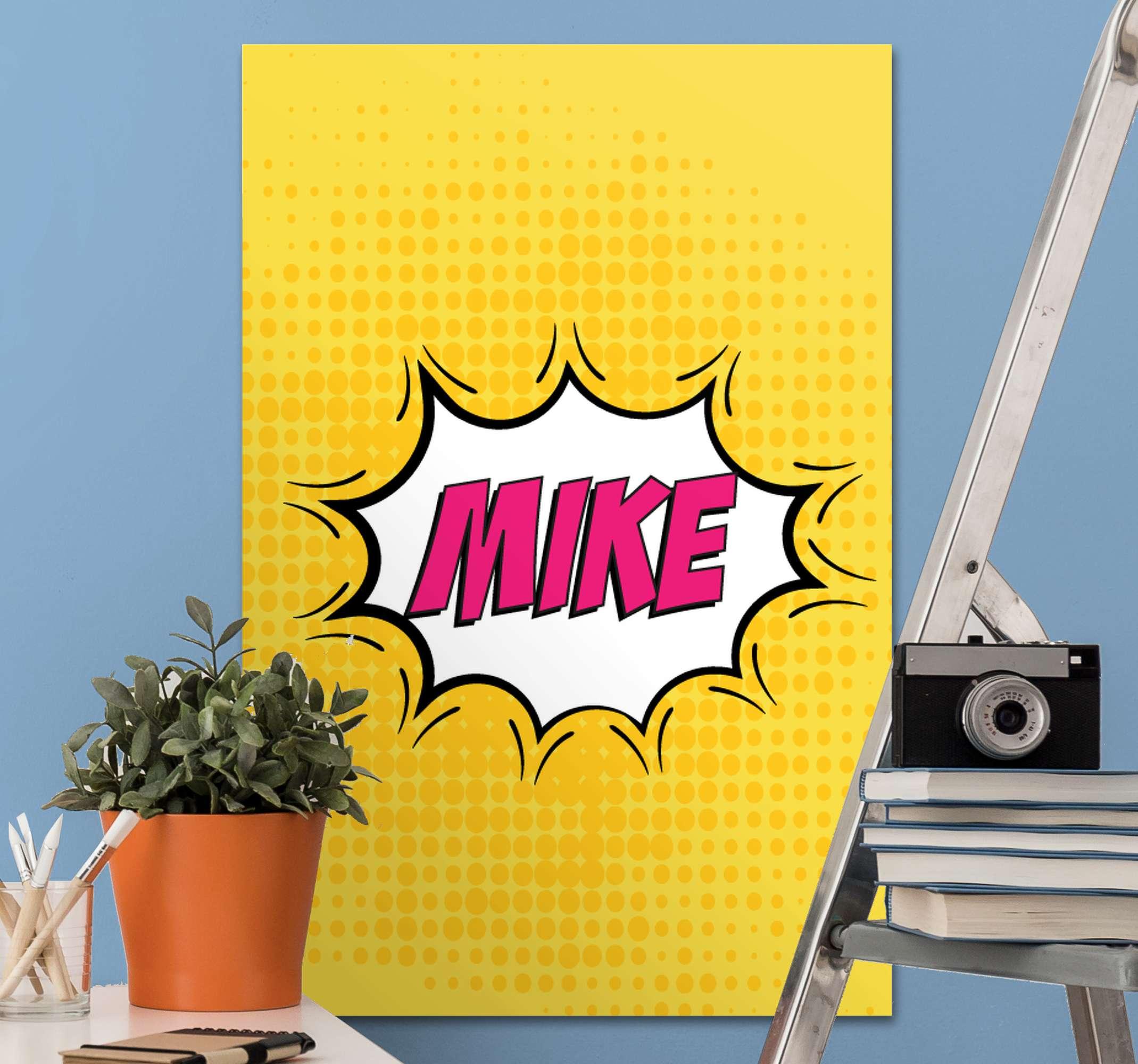 Tenstickers. Tegneserie navn tilpasses lerretstrykk. Denne tegneseriebok som kan tilpasses, vil se fantastisk ut i ethvert rom hjemme! Tilpasse ved å legge til ditt eget navn.