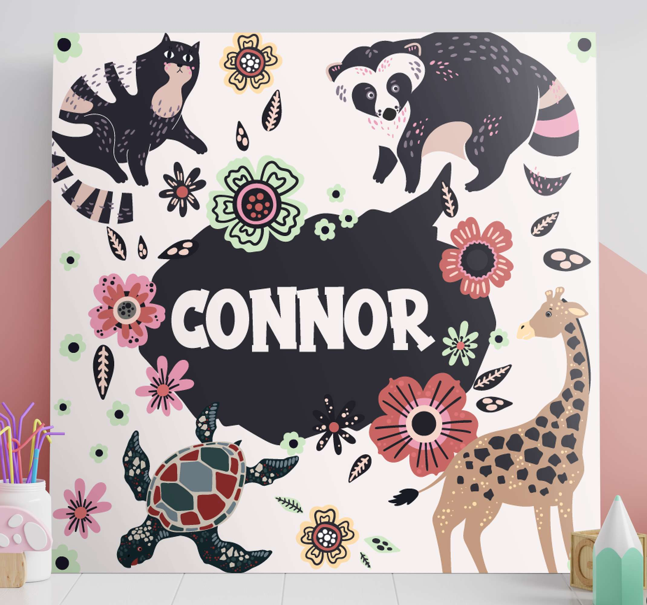 TenStickers. name surrounded by animals customisable canvas prints. Decorate you home with this sunning customisable animal wall art canvas! With +10,000 satisfied customers we're here to help.