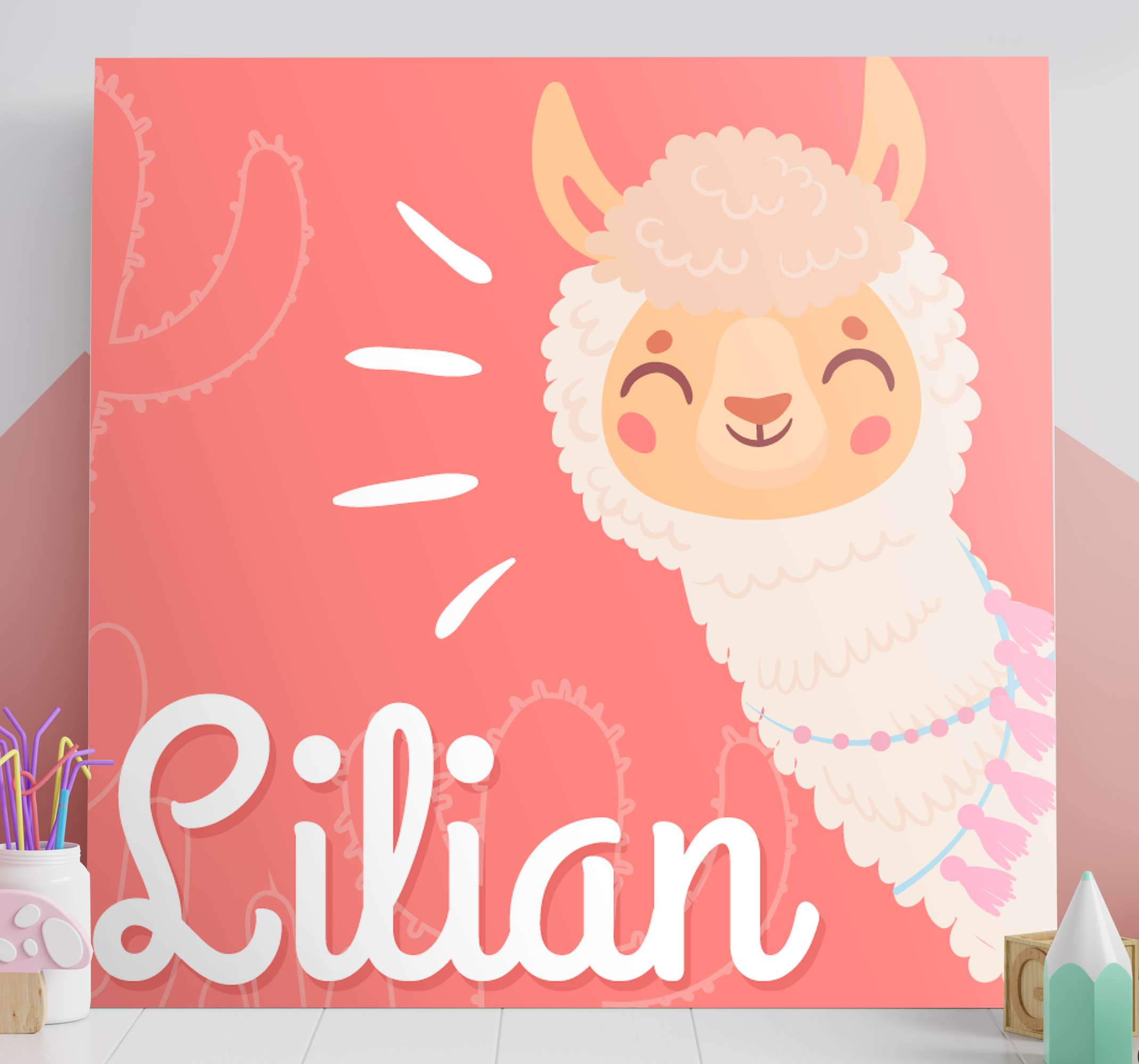 TenStickers. cute llama personalised customisable canvas prints. This insanely cute customisable llama animal wall canvas print could be all yours! Made with extremely long-lasting material.