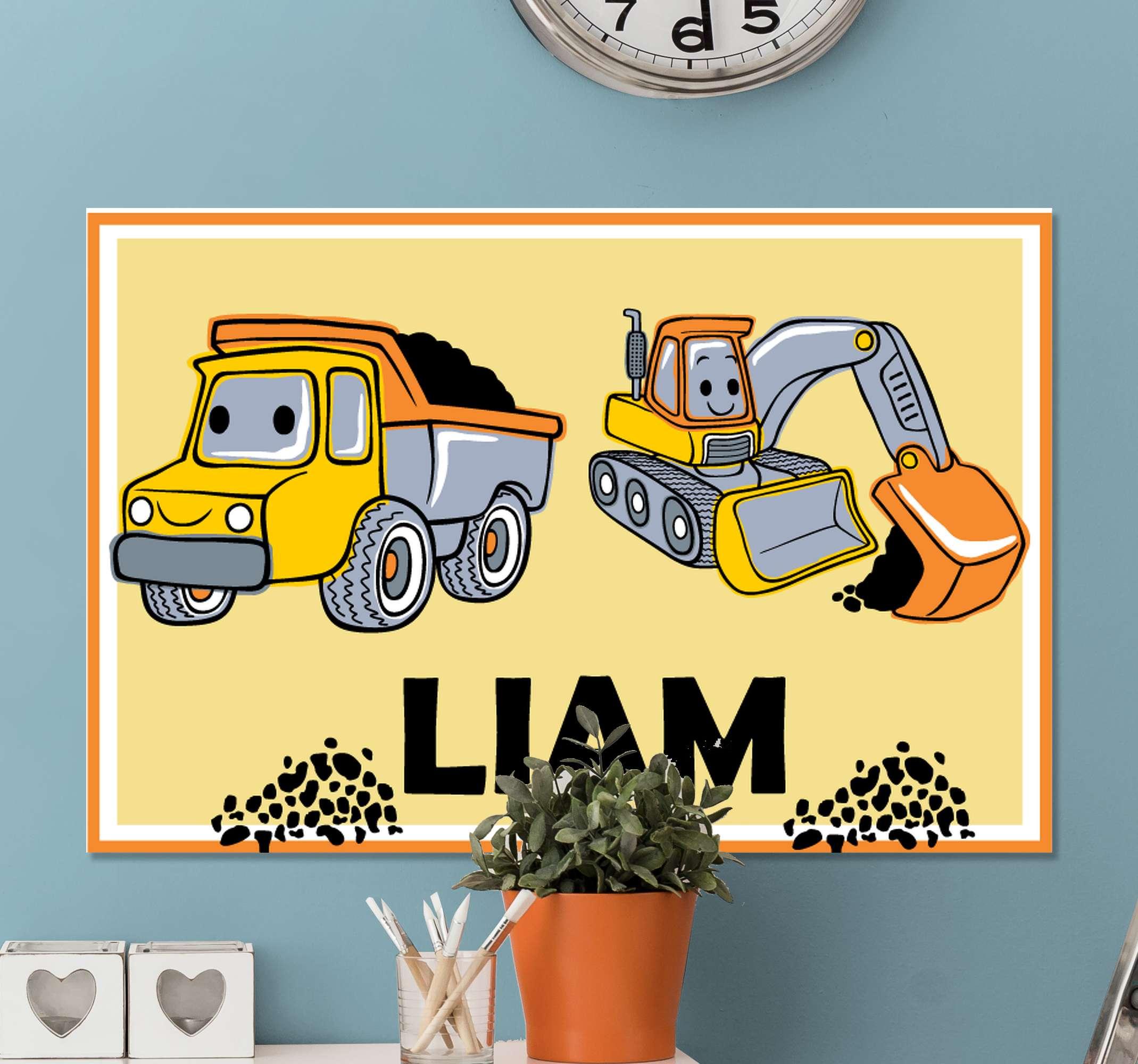 TenStickers. Gepersonaliseerde gele vrachtwagens canvas schilderen . De perfecte aanpasbare vrachtwagen canvas schilderijvoor uw lieve kleine man! Met +10. 000 tevreden klanten bent u in goede handen.