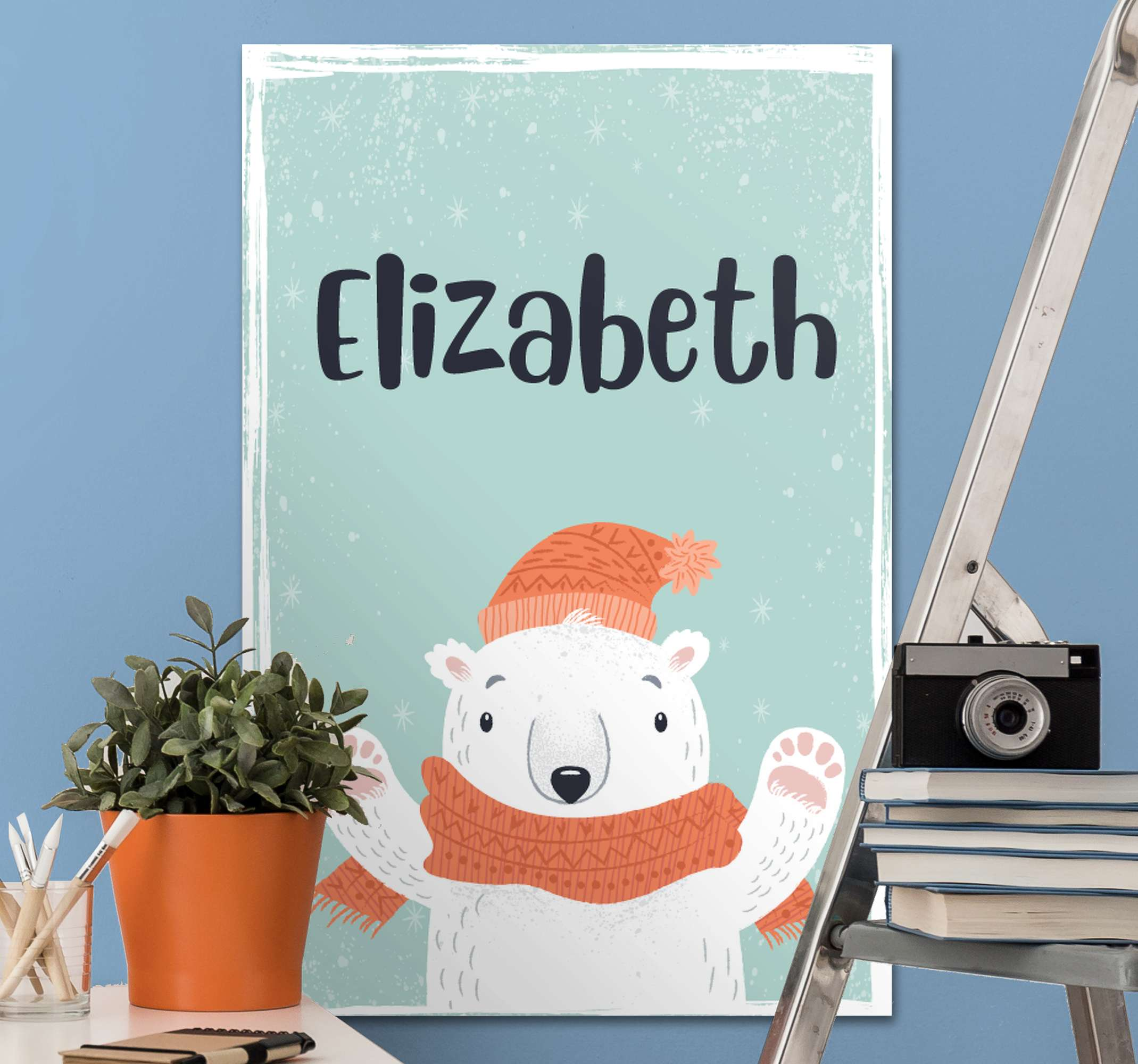 TenStickers. cute name with polar bear customisable canvas prints. A cute customisable polar bear animal canvas print that will help you get ready for Christmas. Discounts available online.