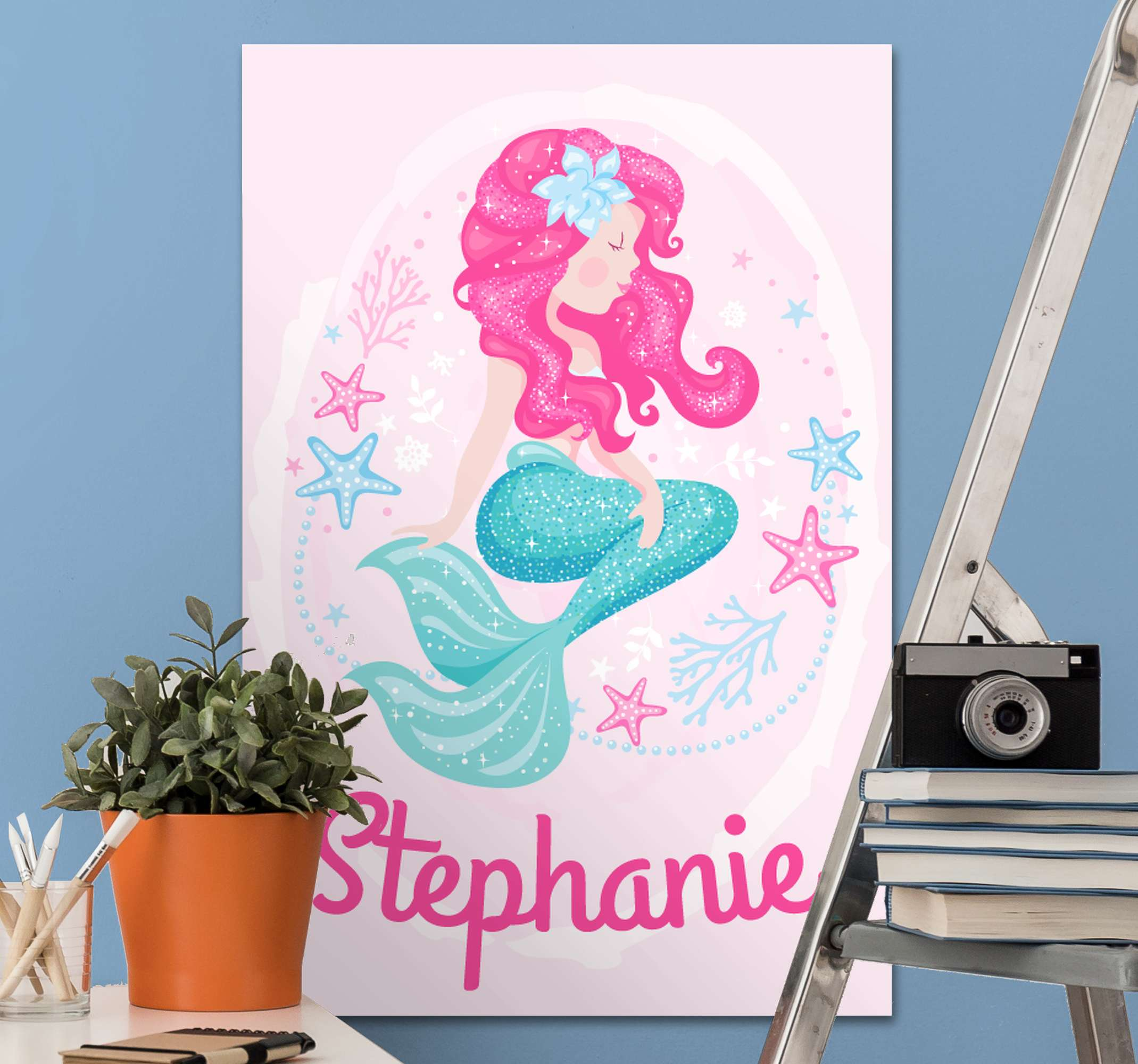 TenStickers. mermaid with name customisable canvas prints. A stunning mermaid canvas print that your little girl can customise with her very own name. Extremely long-lasting material.