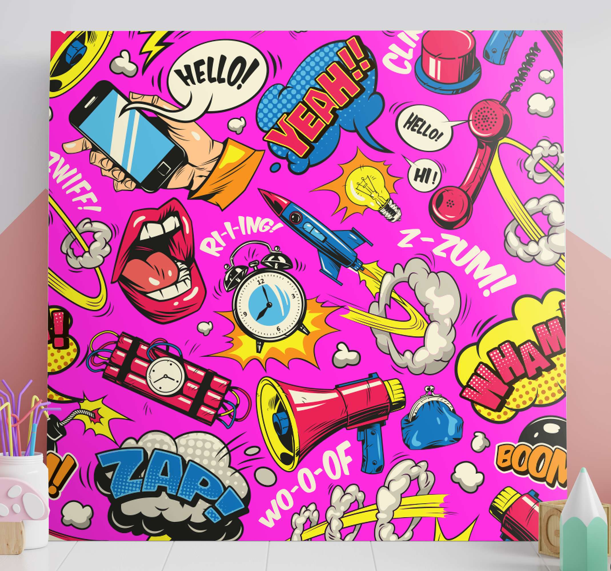 TenStickers. Bright Cartoon canvas art. Original canvas design which features a variety of classic cartoon imagery including lips, speech bubbles and dynamite. High quality.