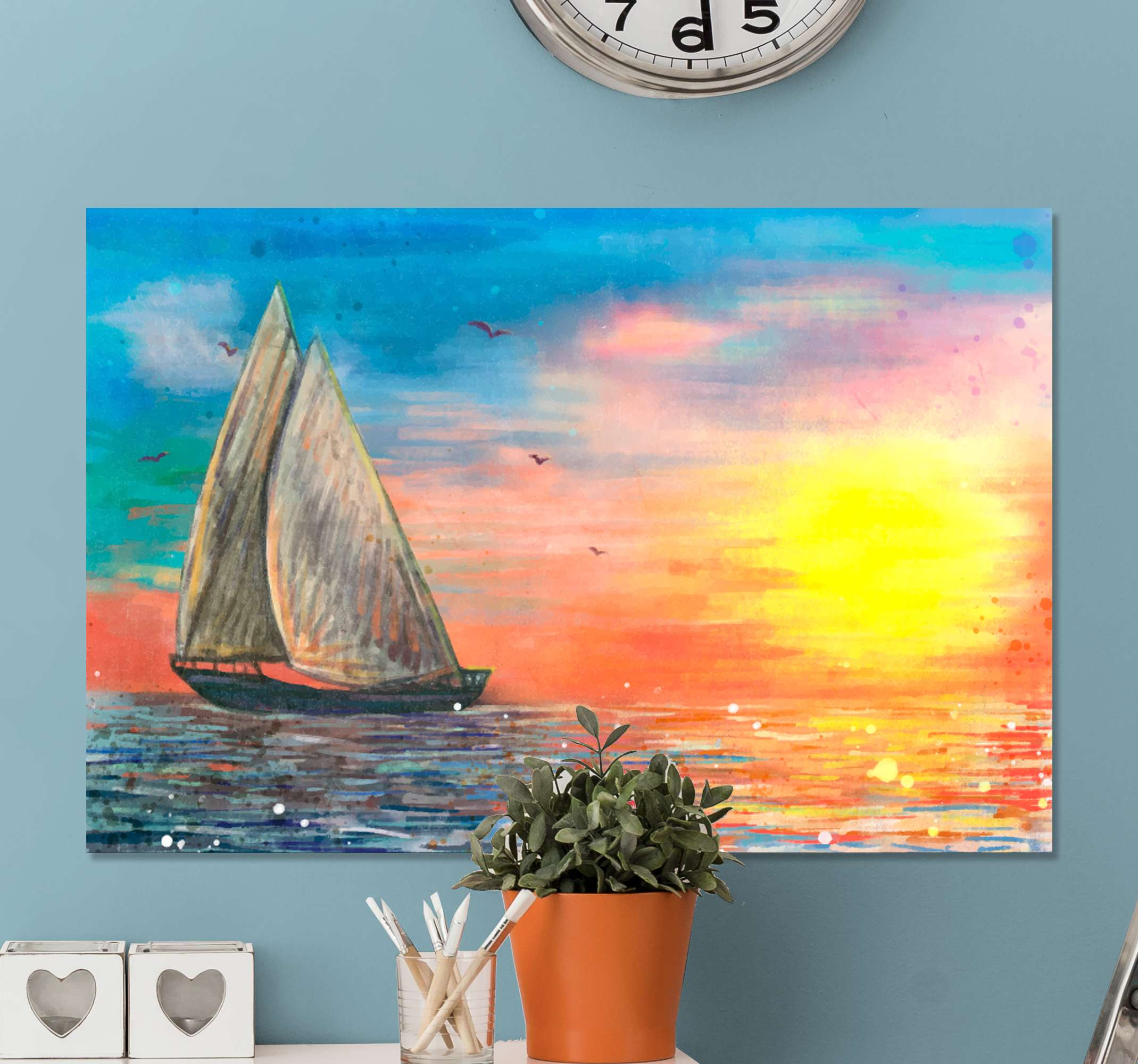 TenStickers. puesta de sol  Nautical canvas wall art. This Canvas home decor will give your room a unique look! Don't wait any longer and order your favorite design now! Home delivery!