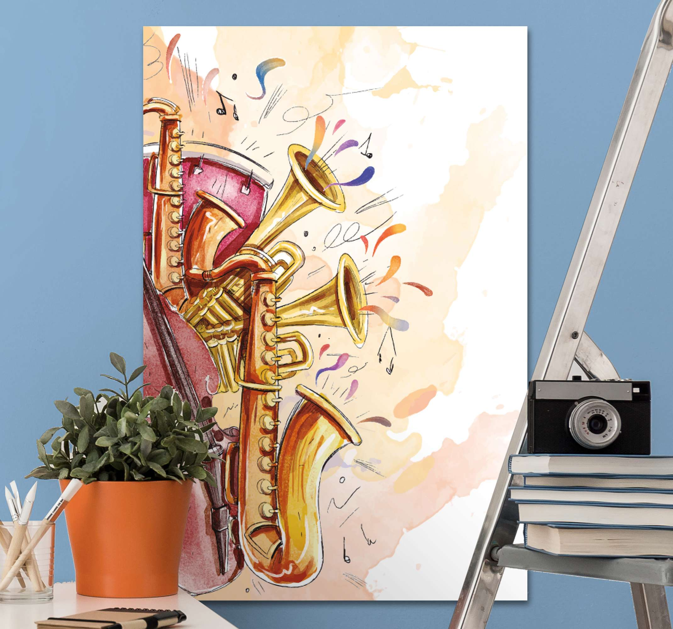 TenStickers. Musical instruments Music canvas wall art. Decorate your home with the touch of sound of music using our musical instruments canvas art. Printed in high quality finish.