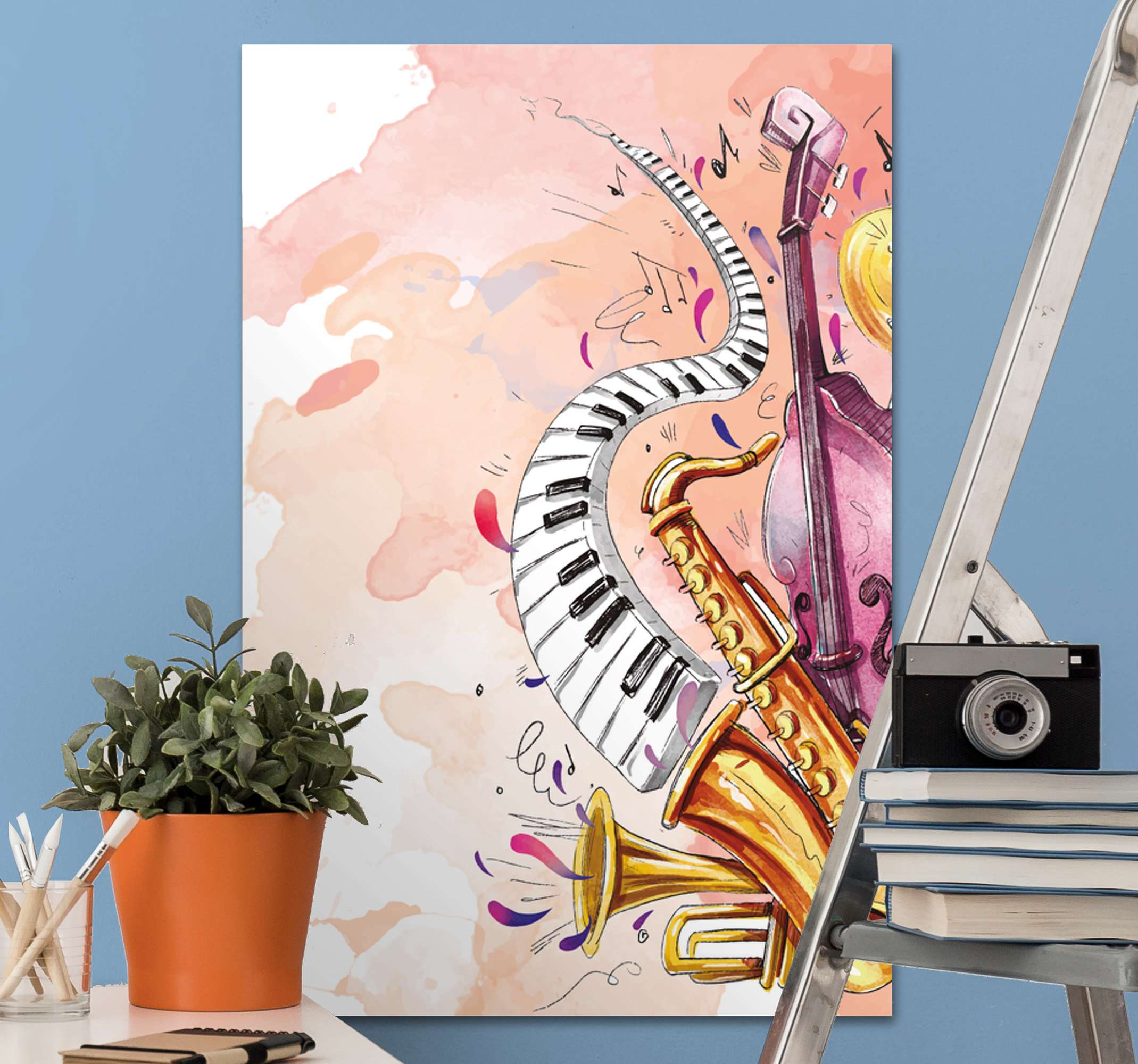 TenStickers. Watercolor musical instruments canvas wall art. Lovely watercolor musical instruments canvas art to transform your space with an original and modern look. Printed in high quality finish.