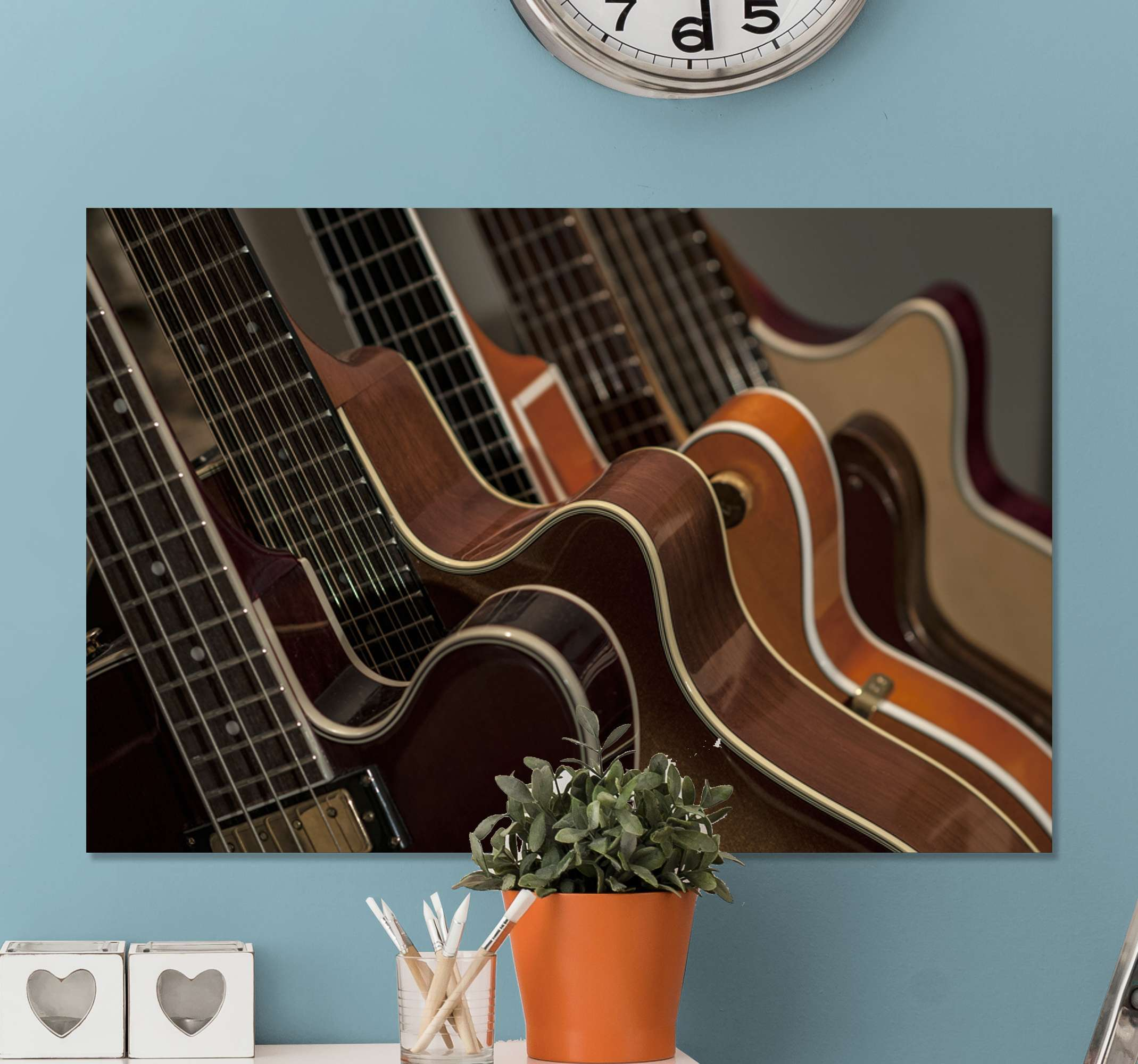 TenStickers. Guitars Music canvas wall art. Lovely musical canvas print hosting design of a guitar. You would love this canvas especially as a music lover and enthusiast.