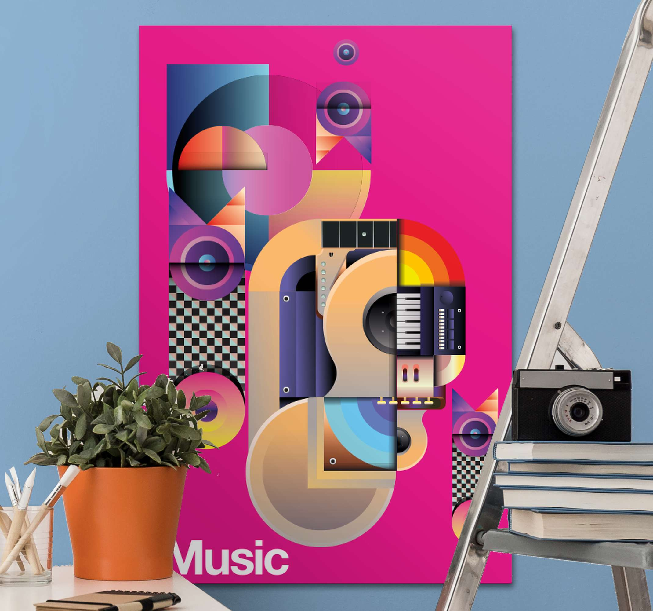 TenStickers. Modern music motifs Music canvas wall art. An amazing colorful music motif canvas for music lovers.  This canvas can be decorated on any space in the home, it is printed in high quality finish.