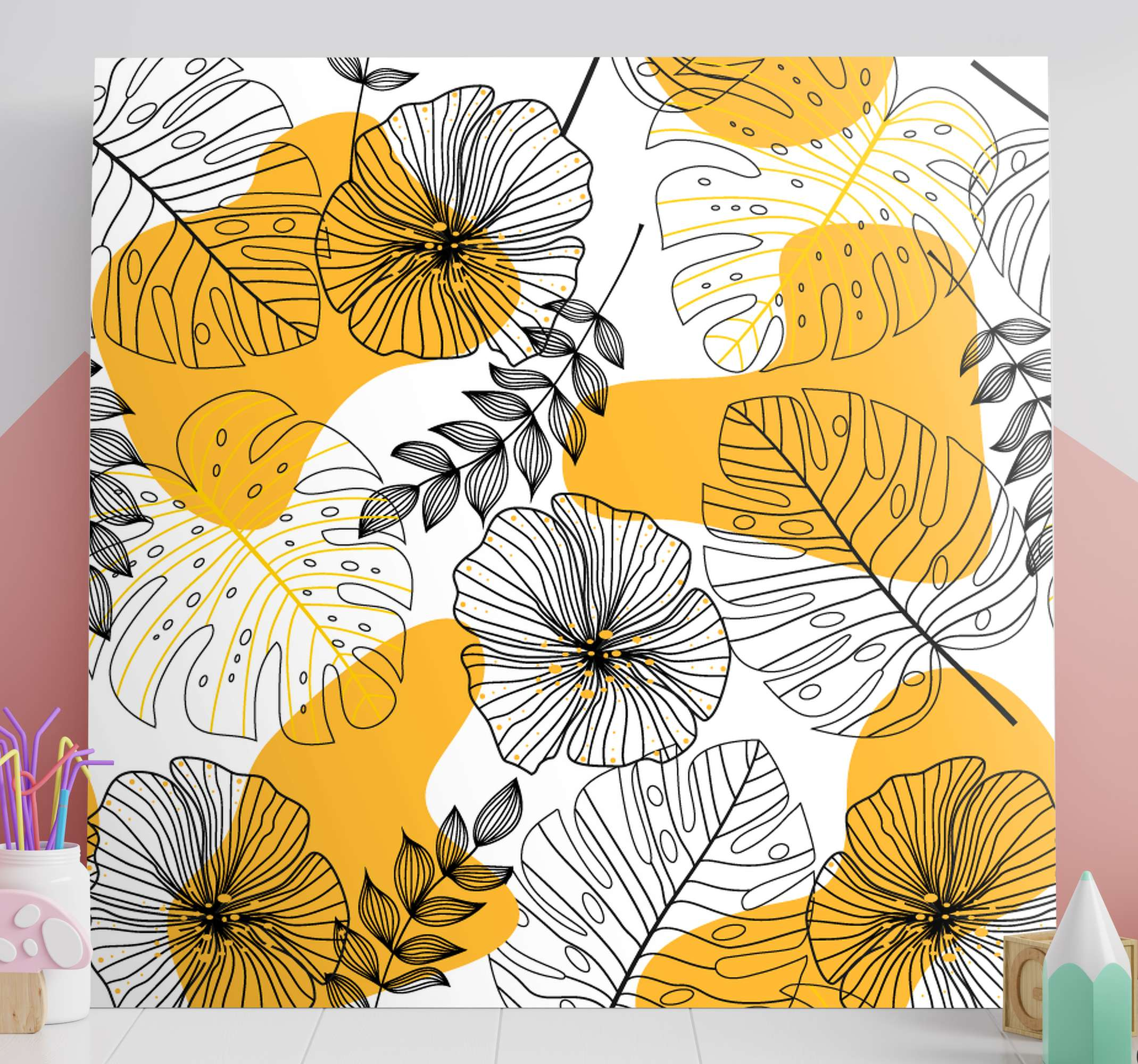 TenStickers. Dipinto nordico Estilo nórdico planta tropicale. Dai uno stile unico alla tua stanza con questa stampa su tela domestica, non ti resta che acquistarla subito e abbellire la tua casa! Consegna a domicilio!
