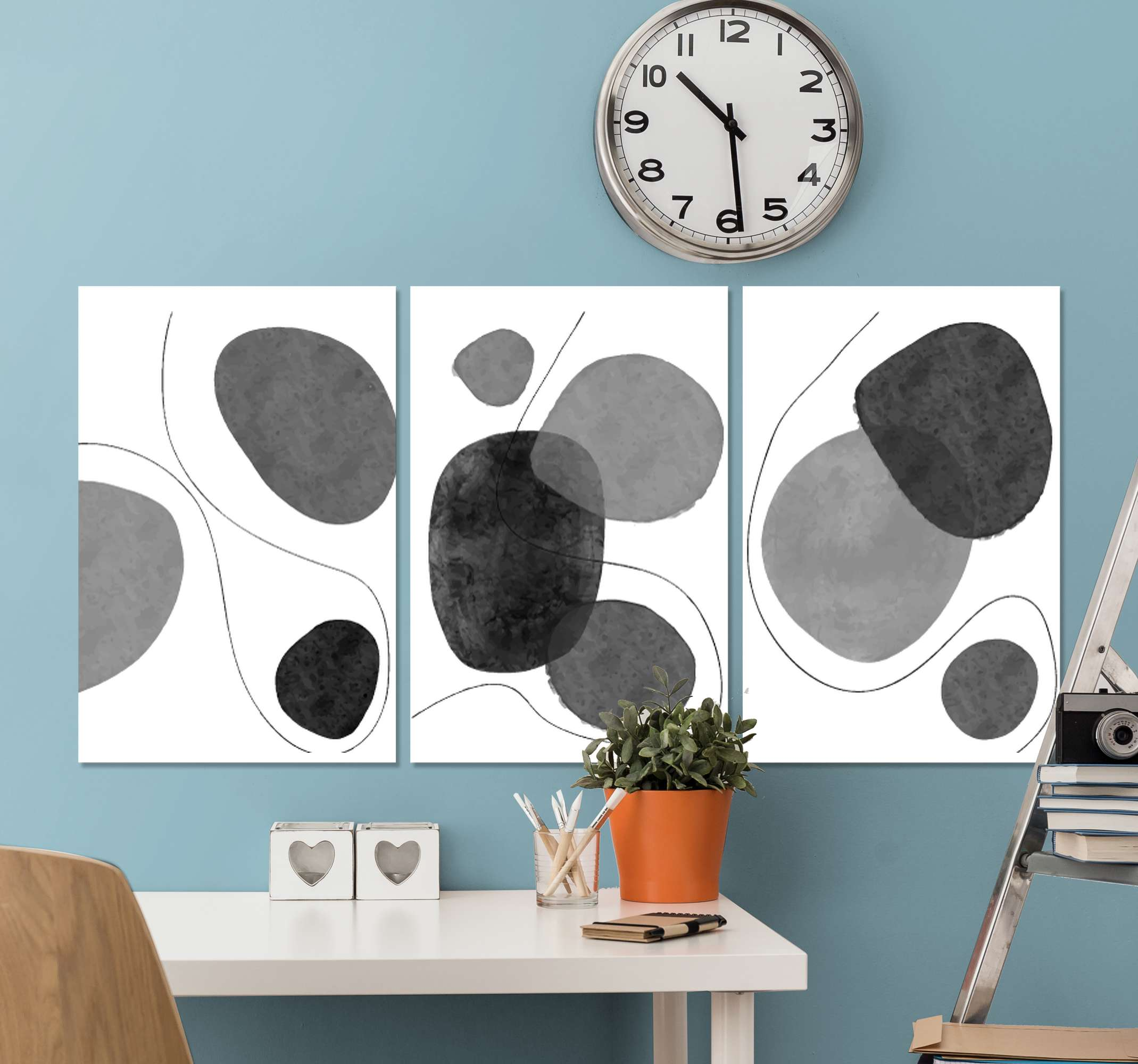 TenStickers. Greyscale Abstract Nordic nordic canvas art. Nordic canvas print which features a pattern of greyscale abstract shapes surrounded by lines. Sign up for 10% off. High quality.