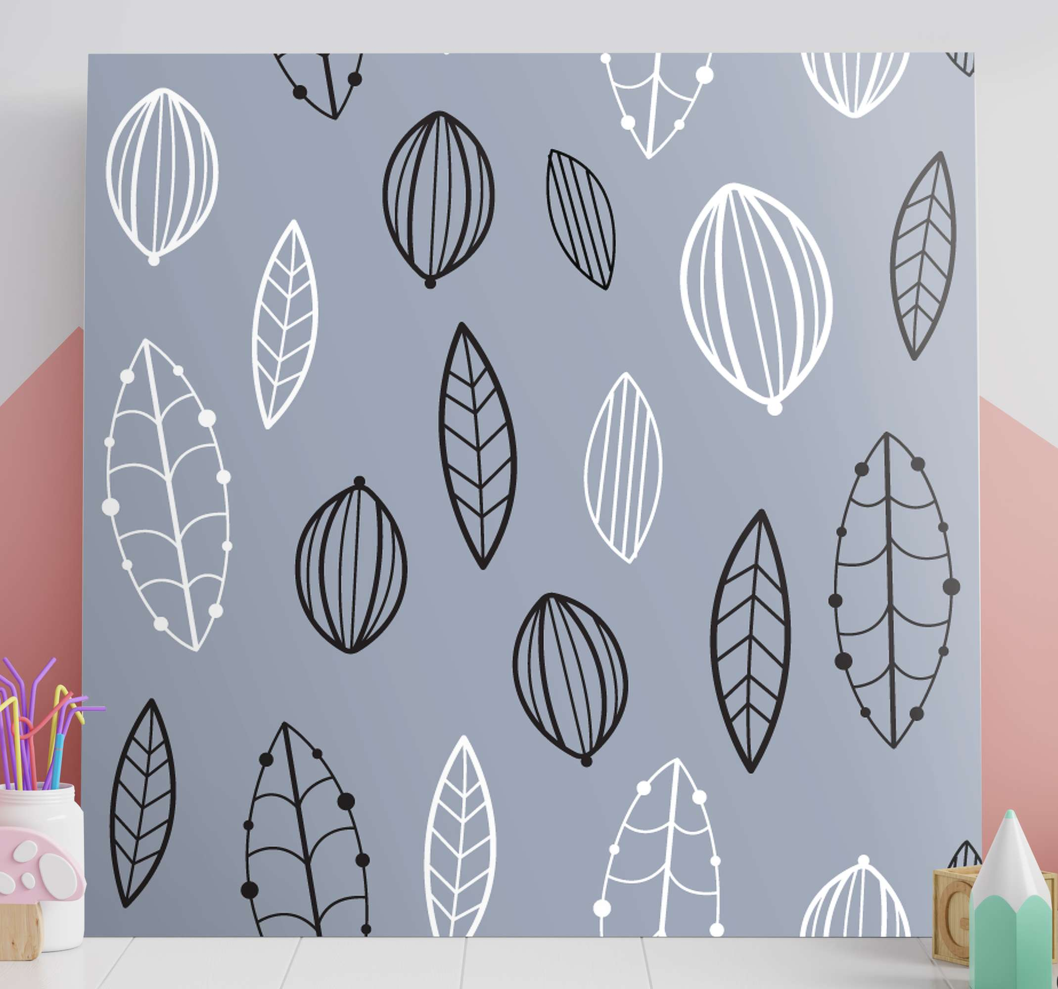 TenStickers. Nordic Leaf Pattern canvas art. Nordic canvas print which features a lovely pattern of leaves all with intricately drawn patterns. High quality materials.