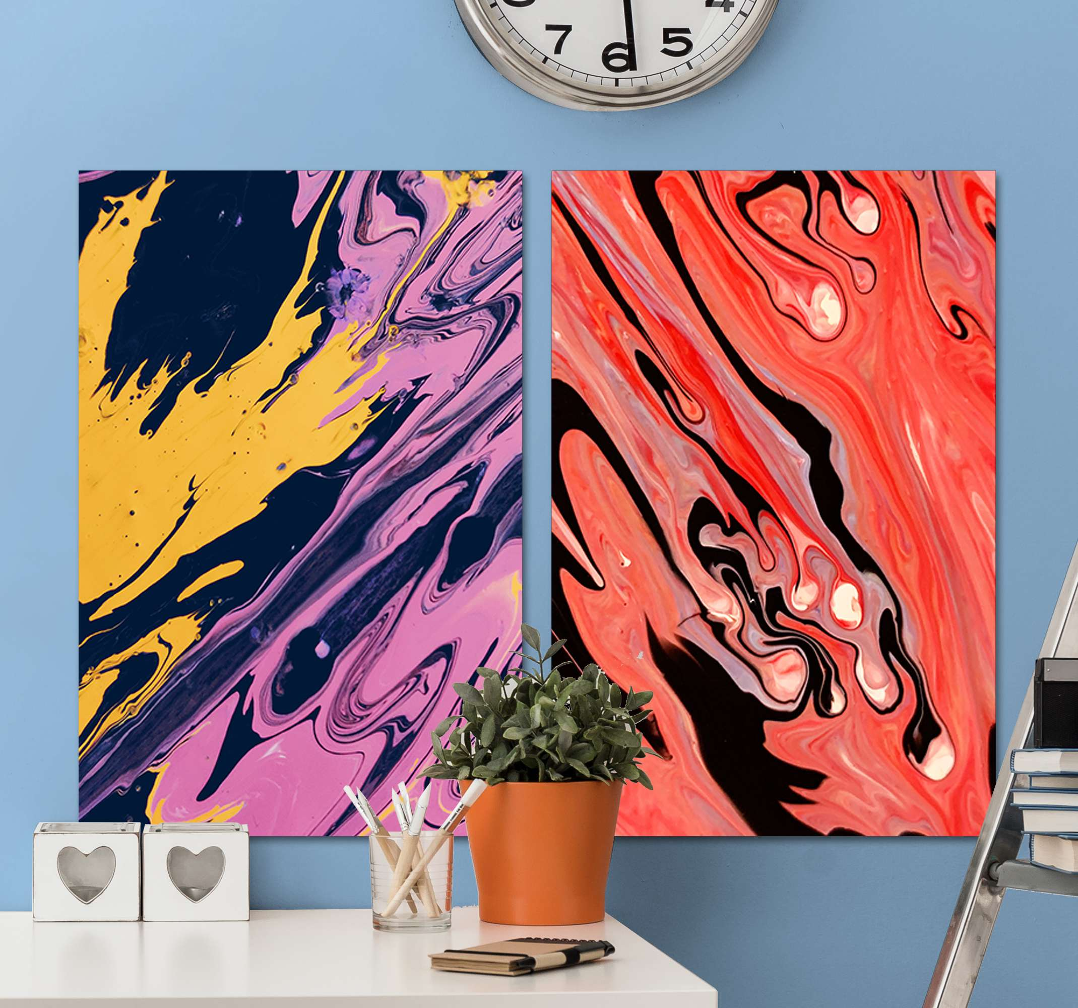 TenStickers. Colorful abstract modern art prints on canvas. Colorful abstract modern canvas wall art with it composition in two canvases of 40x60cm. The canvas is easy to hang on wall since it is really light.