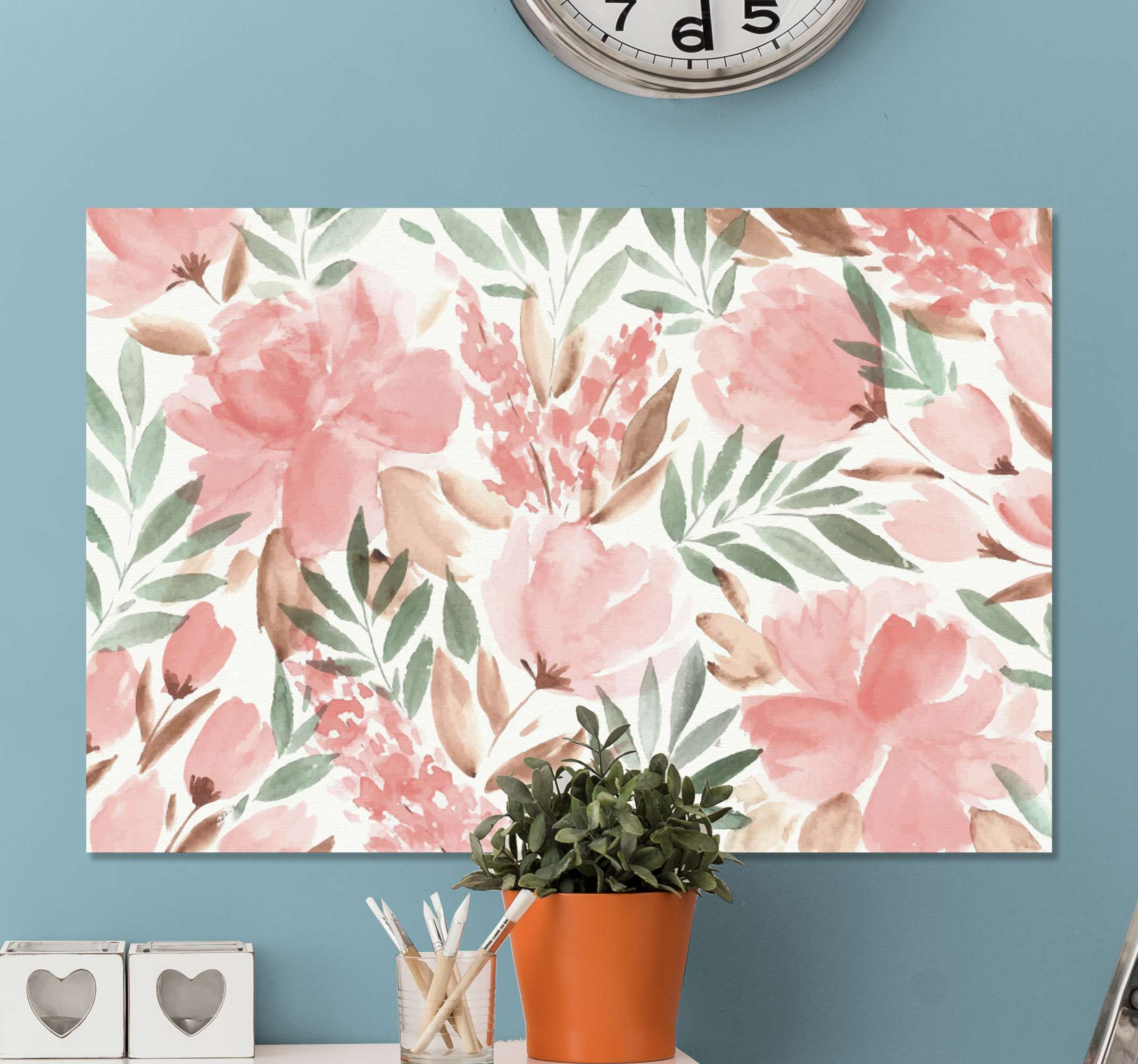 TenStickers. Watercolor flowers modern art prints on canvas. With this original modern canvas print you can turn your home space into a new experience that you would love and your guest would feel comfortable.