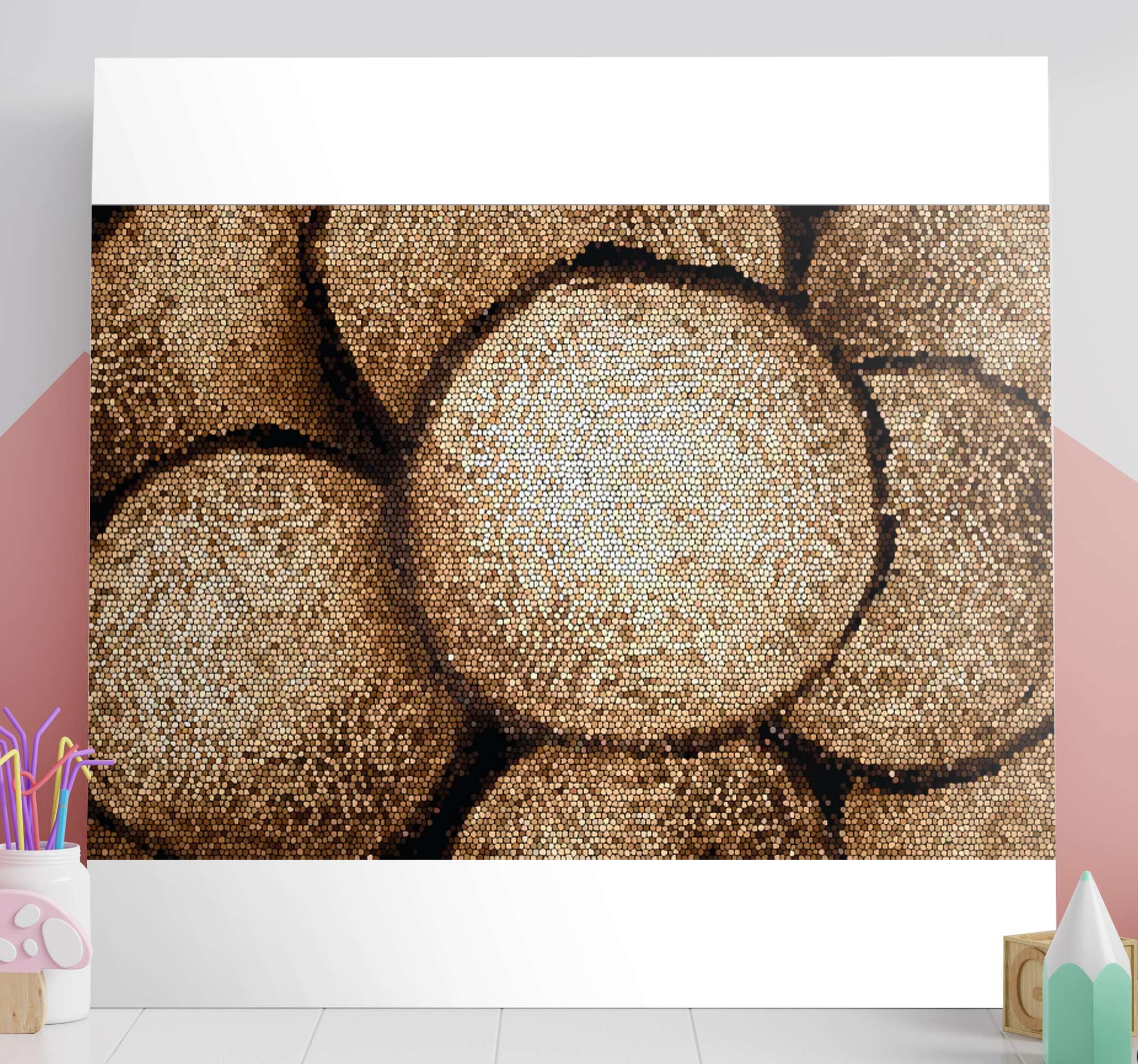 TenStickers. 木制方形照片马赛克画布. 完美的木质设计马赛克帆布印花,可为您的房屋墙壁装饰。立即注册,即可享受首次订单10%的优惠。