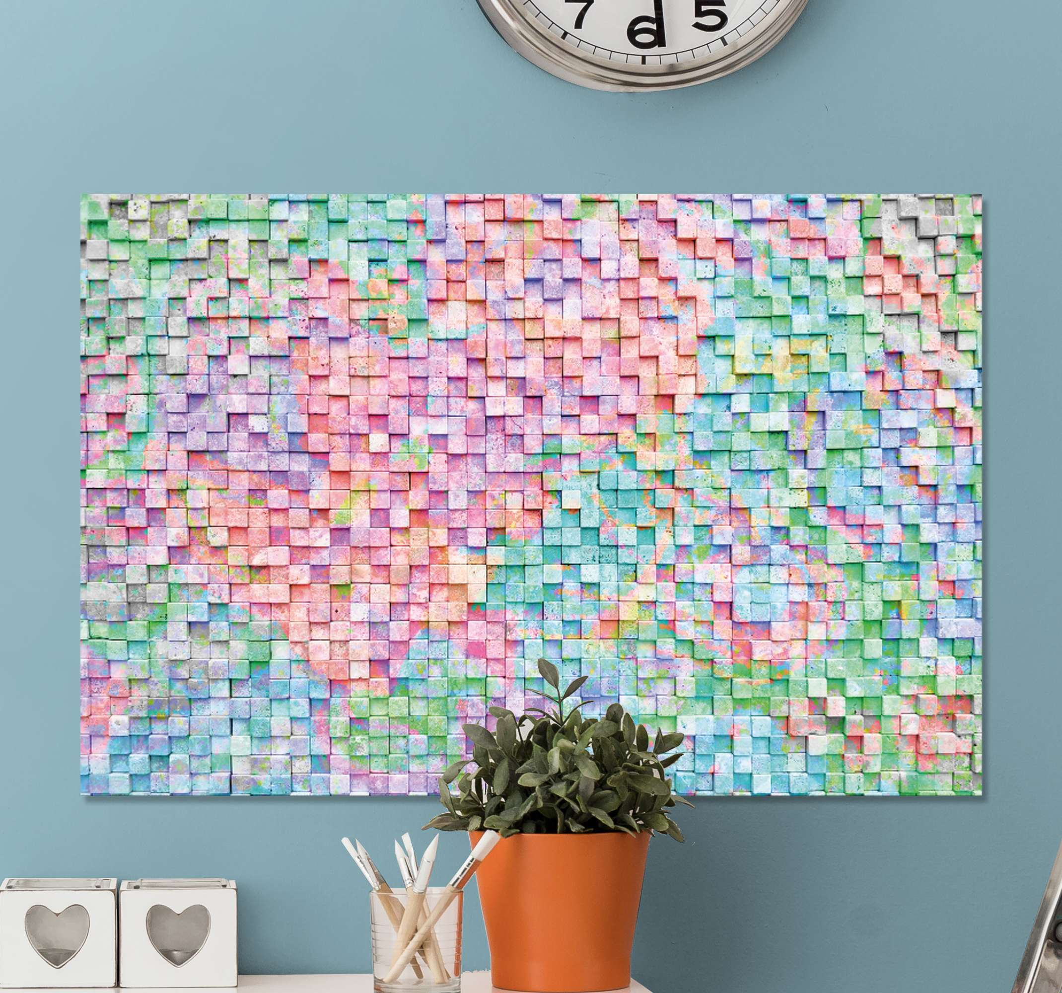 TenStickers. Square Coloured mosaic canvas. Purchase this incredible mosaic canvas print featuring a variety of colours to update your walls today! Discounts available.