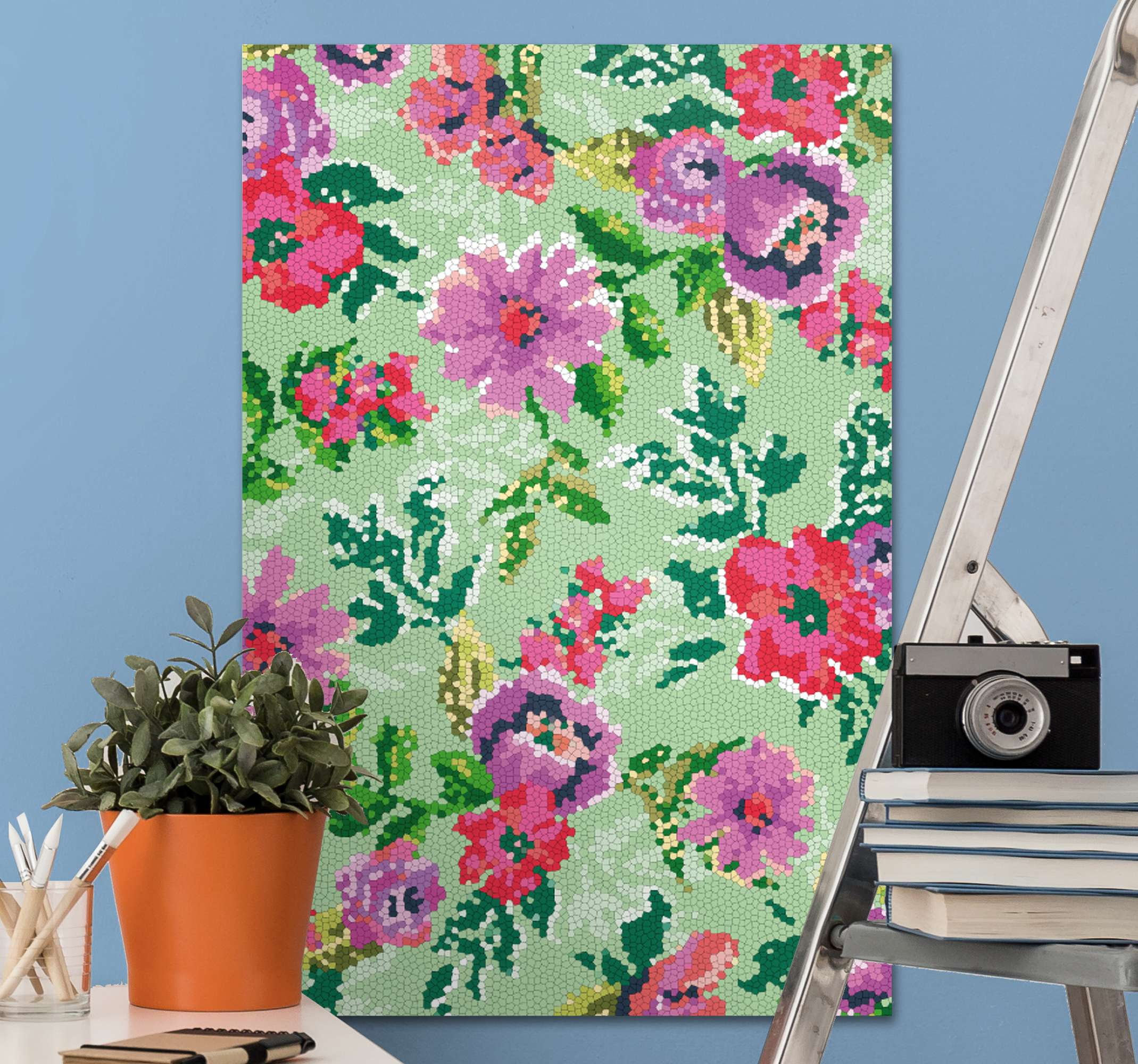 TenStickers. Colourful flowers photo mosaic canvas. Apply this floral canvas print to your walls for a stunning finish. With +10,000 satisfied customers you are in safe hands.