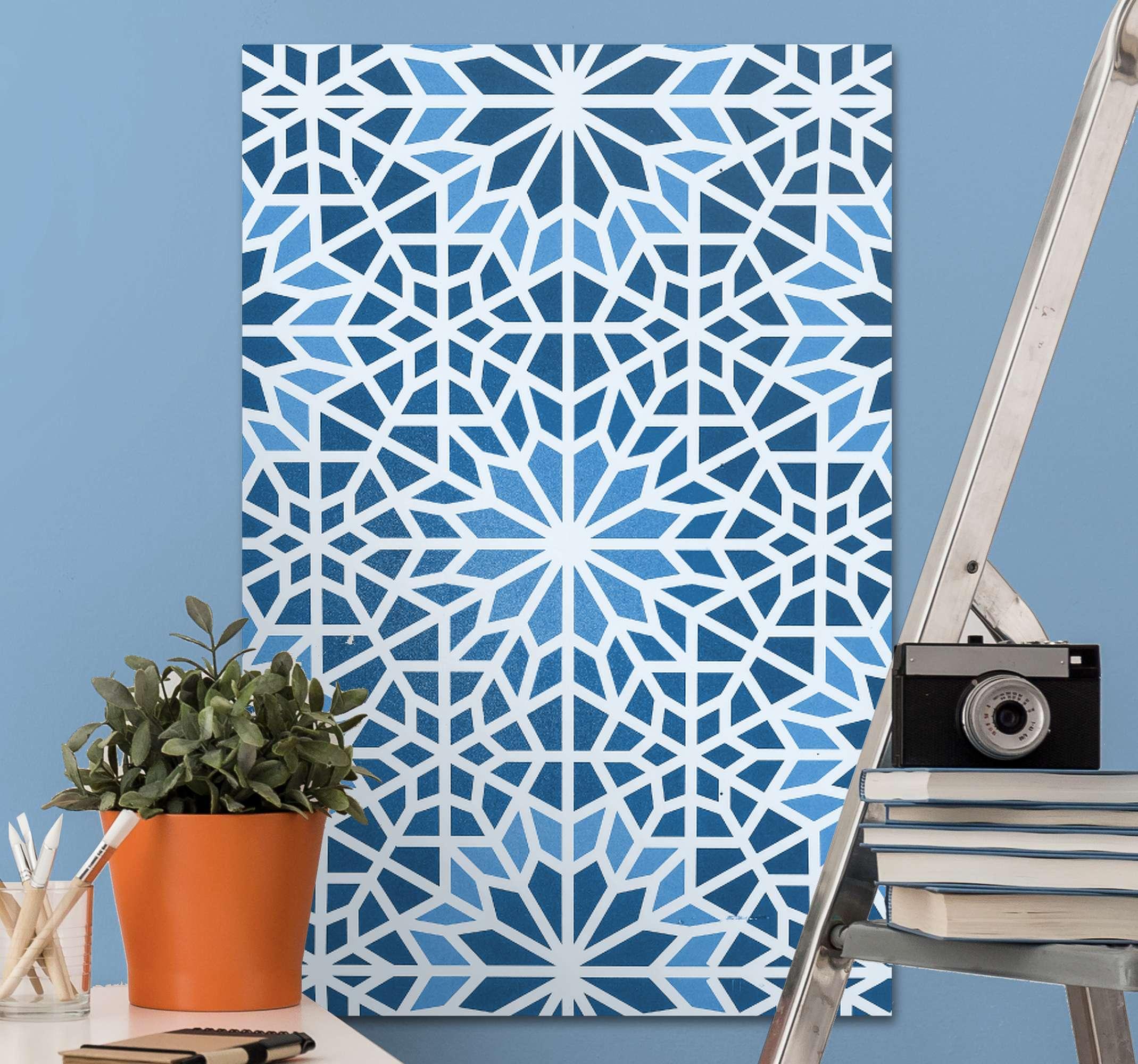 TenStickers. 阿拉伯蓝色马赛克帆布. 这种家庭画布打印可以放置在房屋的任何区域。用这幅画给您的朋友和家人留下深刻的印象!送货上门 !