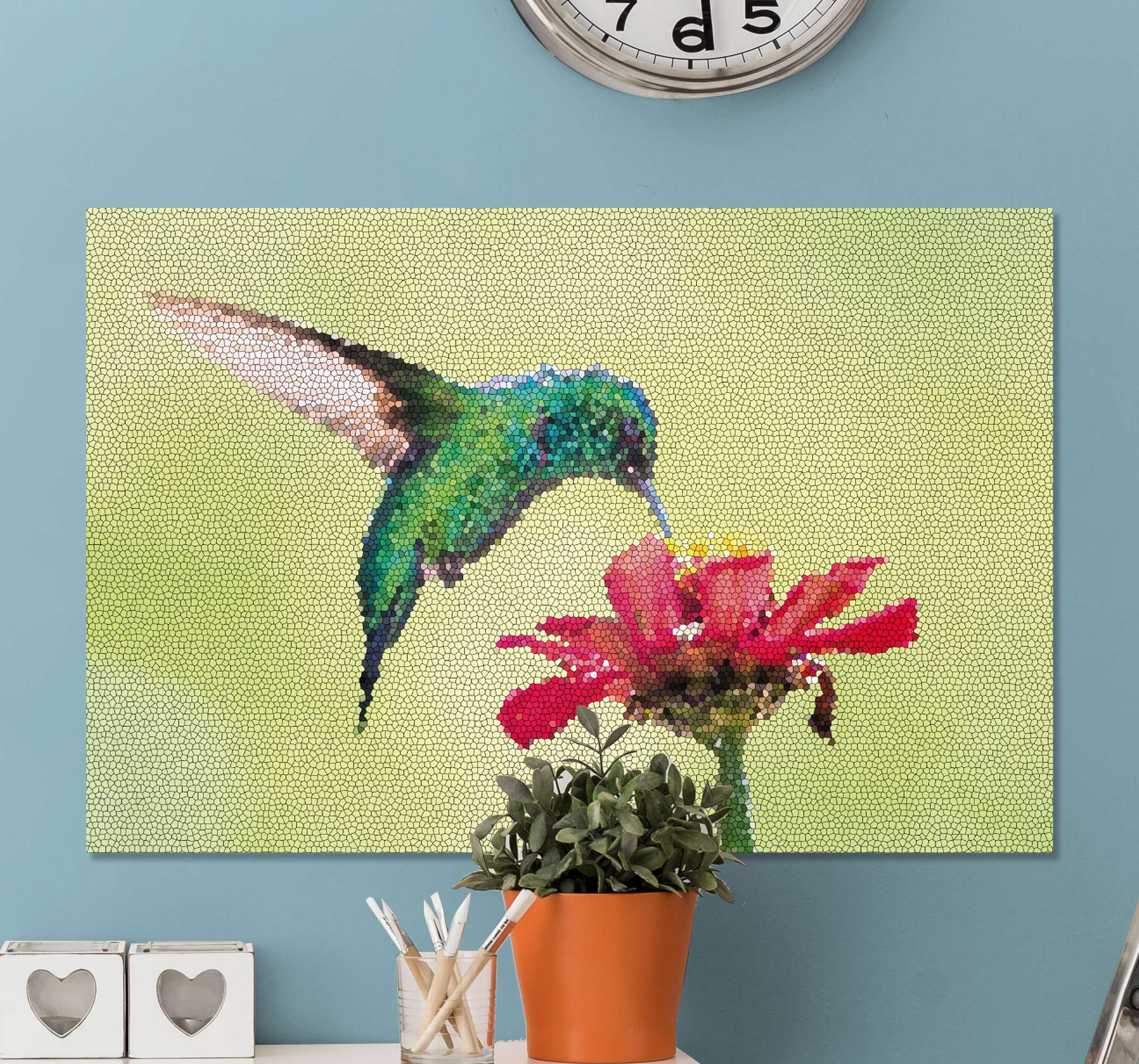 Tenstickers. Färgglada fågelfotomosaikduk. Om du vill förnya utseendet på ditt utrymme, skulle våra färgglada fågelmosaikdukar vara en bra idé för ett omvandlande utseende.