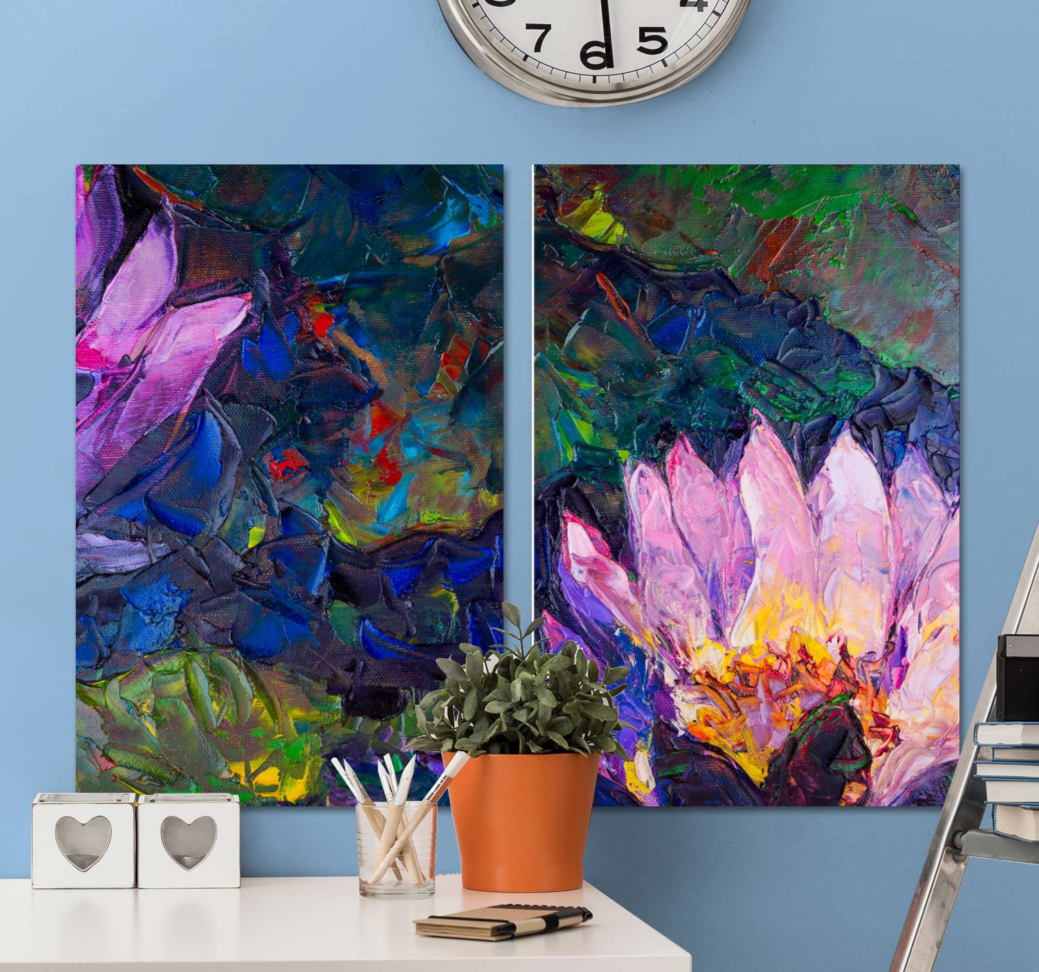 TenStickers. Abstract original flowers framed wall art. Looking for an original flower canvas for home decoration? then this abstract canvas wall art got you covered. Printed with high quality finish.