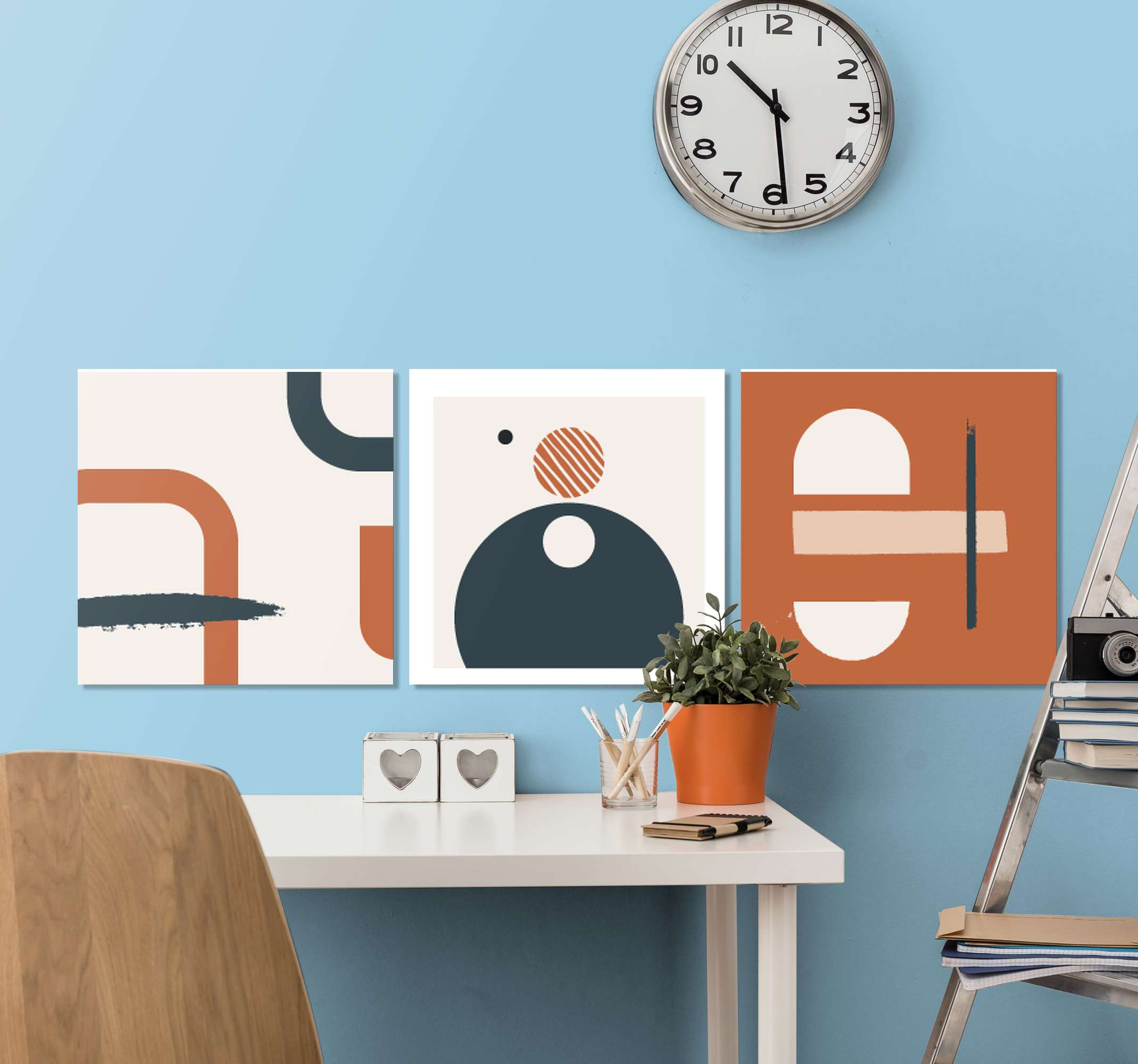 TenStickers. Abstract geometric figures abstract framed wall art. .An abstract canvas wall art with design of different geometric figures. The canvas is printed in high quality finish, UV and fade resistant.