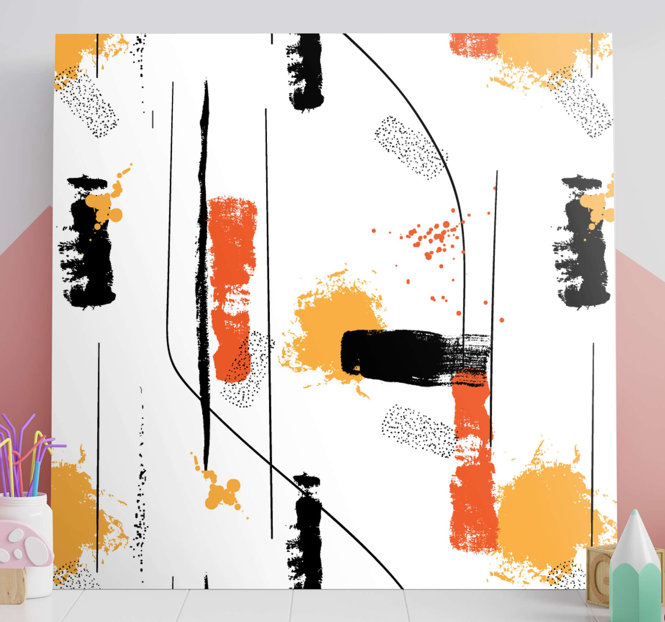 TenStickers. Lineal abstract art canvas print. White background and lineal abstract art canvas print to decorate any space in your house or office. Worldwide delivery to your front door!