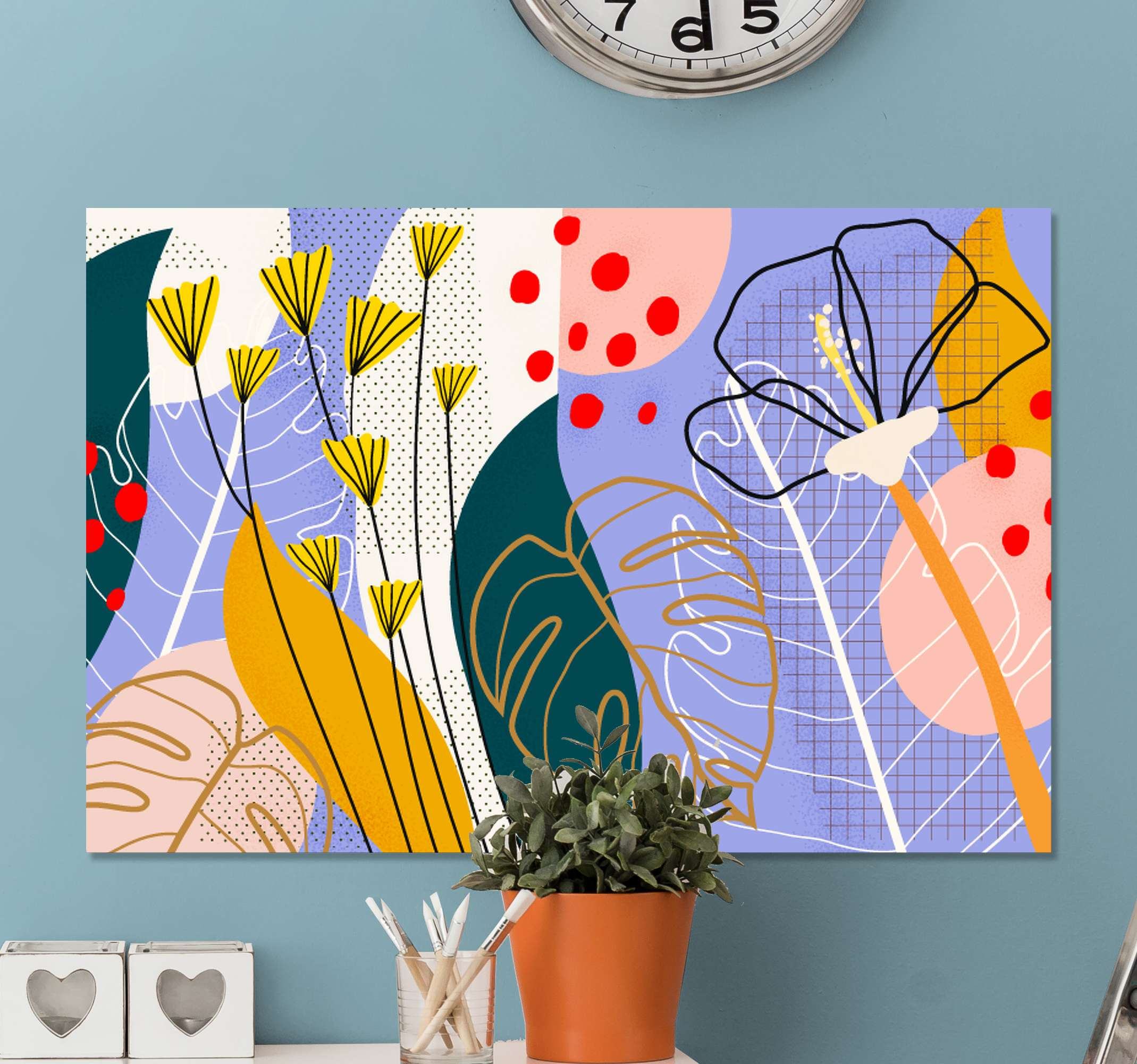 TenStickers. Colorful flowers and leaves canvas wall art. Easy way to decorate your house with this original abstract plants canvas print. Many different colors that will give your house a splendid look!