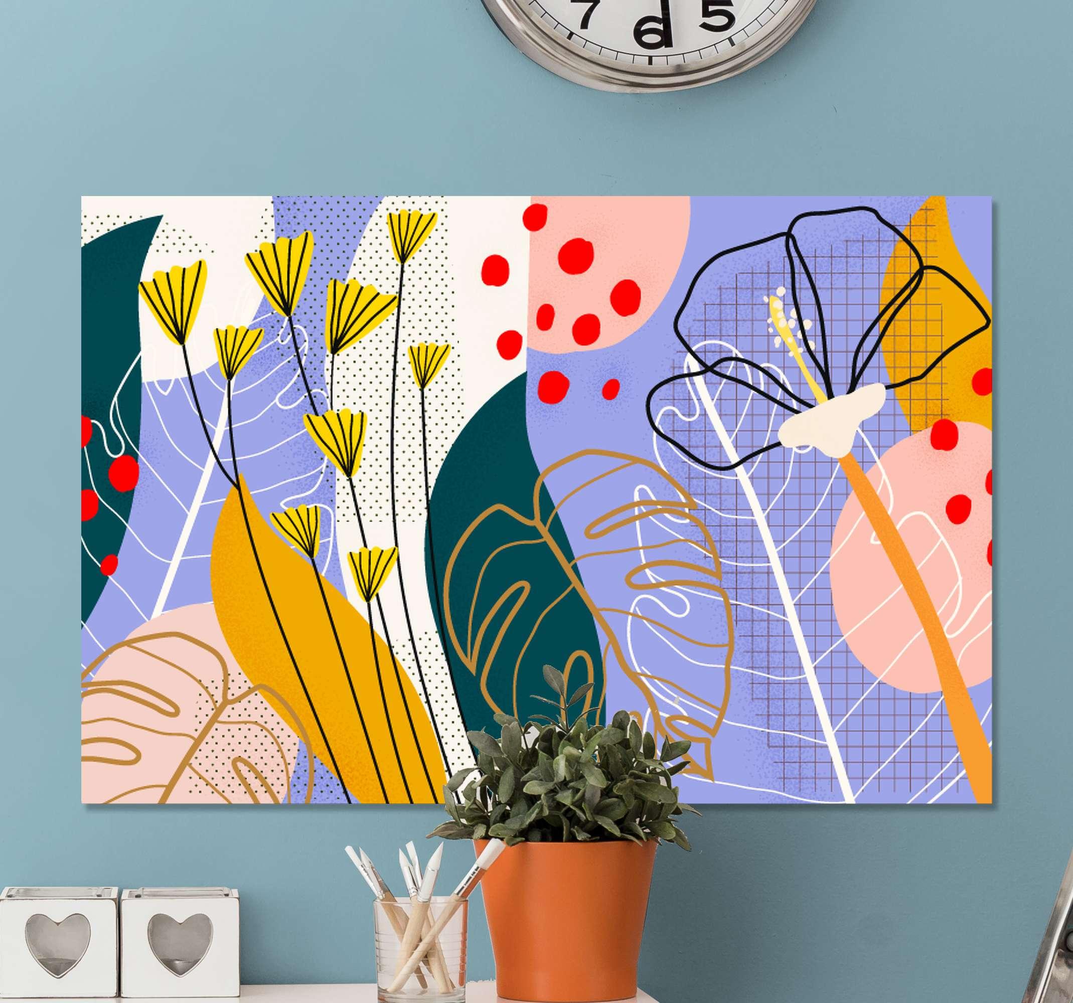 TenStickers. 七彩花朵和叶子画布墙艺术. 用这种原始的抽象植物帆布图案装饰房屋的简单方法。许多不同的颜色将为您的房子增光添彩!