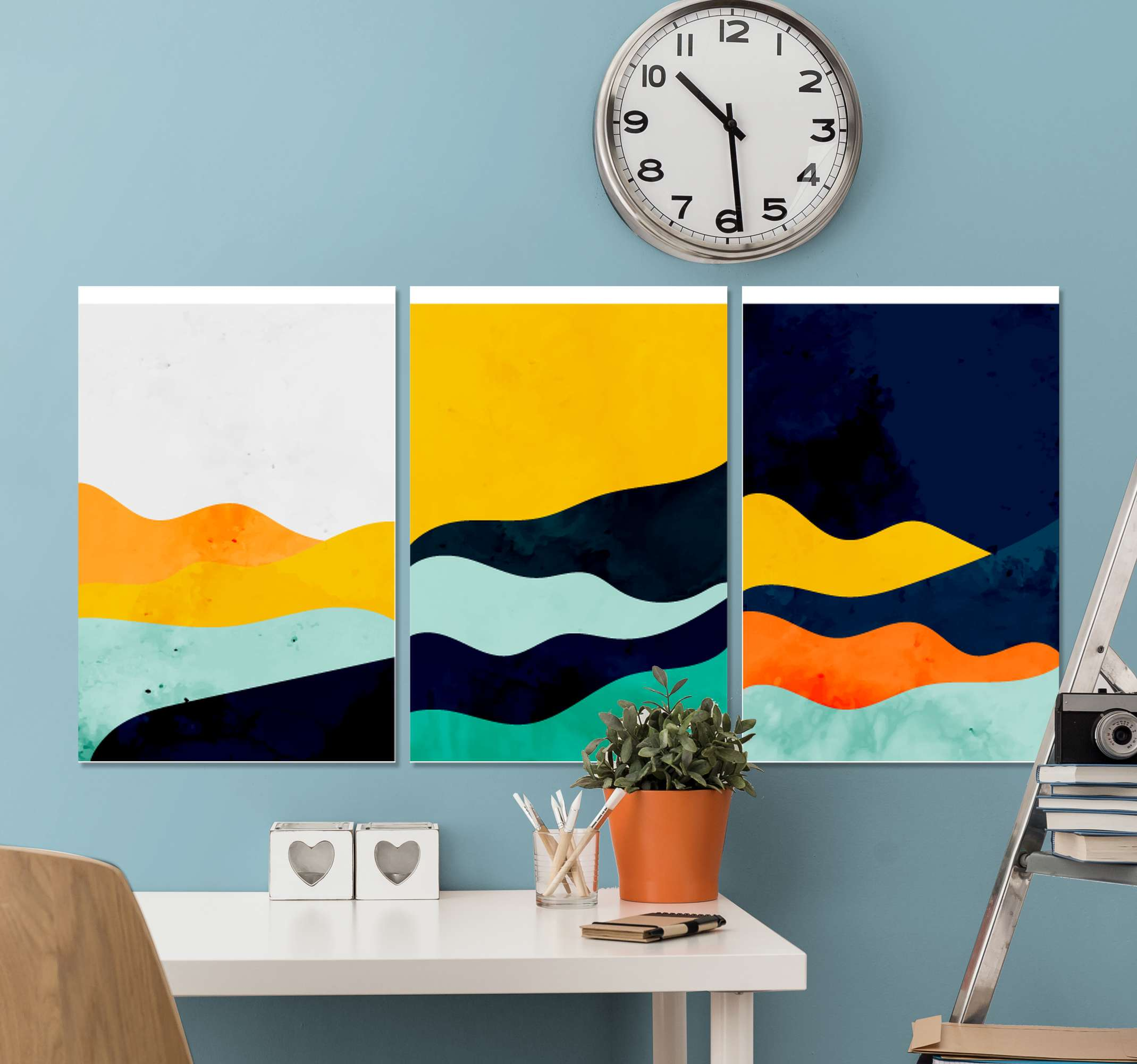 TenStickers. Triptych abstract canvas art prints. A triptych abstract canvas wall art with many different colors to decorate your walls and give your house an original and fantastic look.
