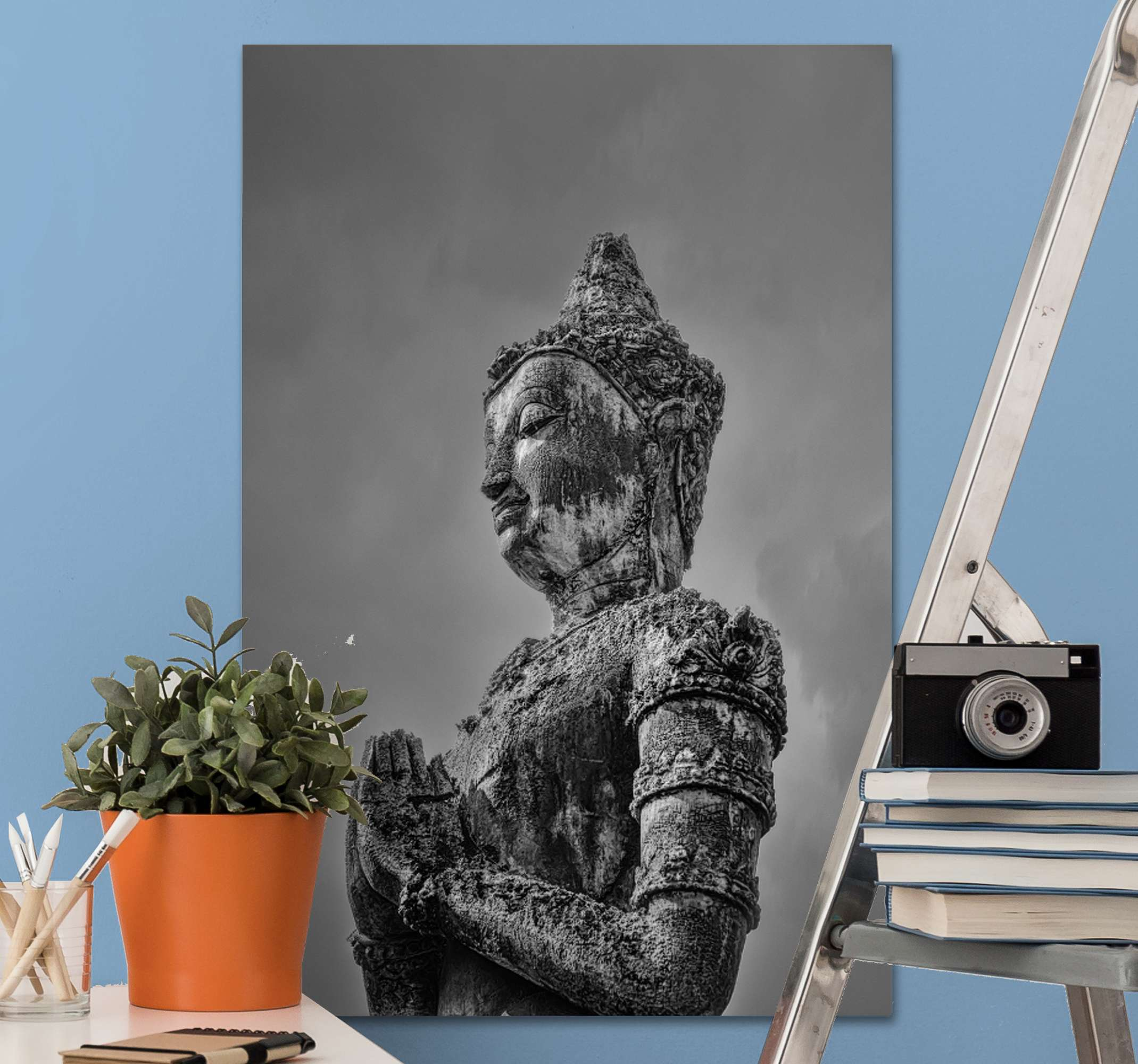 TenStickers. Grey buddha wall canvas. A decoration home canvas print for religious minds. The canvas artwork contains the design of bhuda! a philosopher, mendicant, mentor of the bhudist .