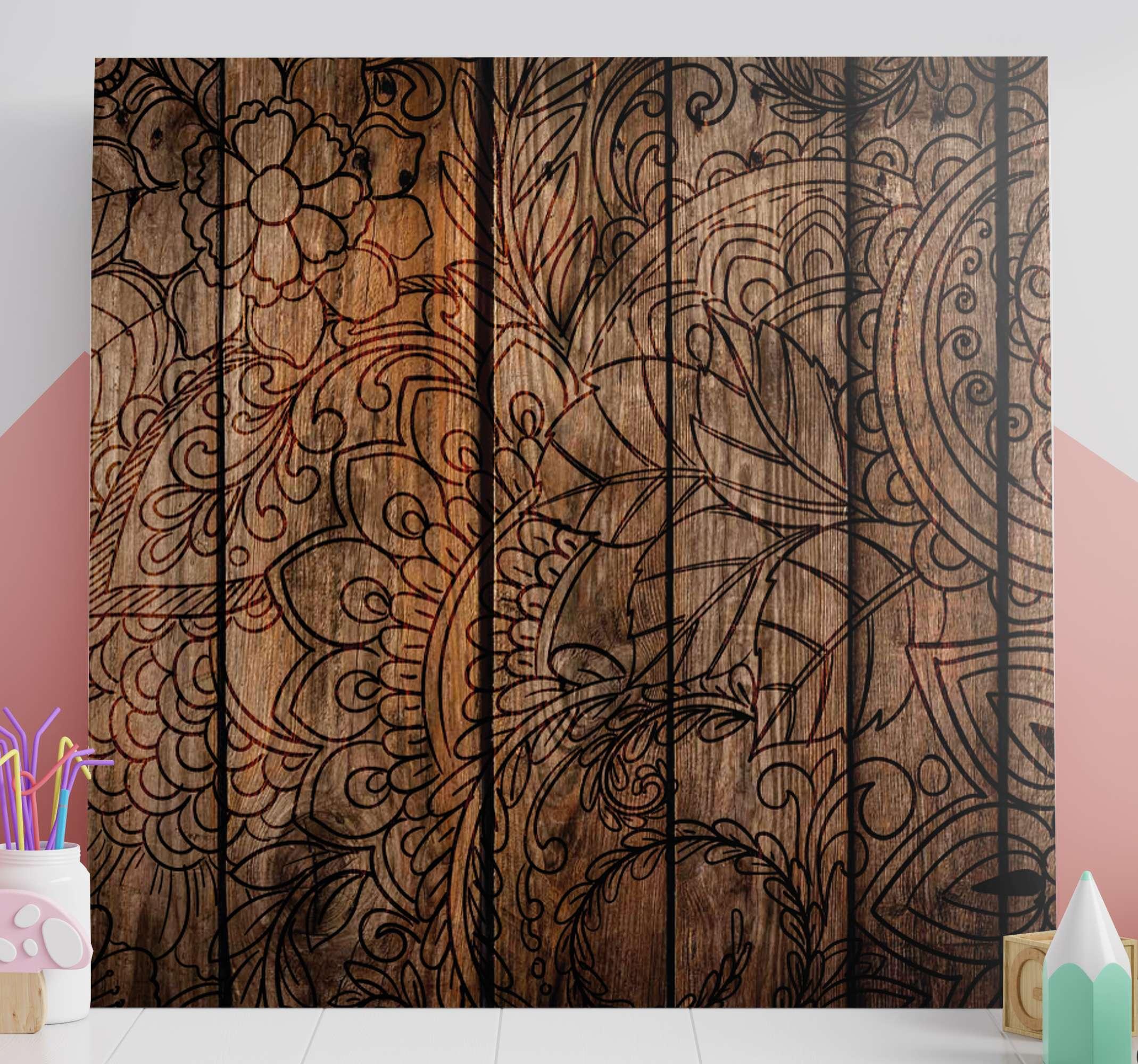 TenStickers. 木效果曼陀罗打印墙艺术. 曼陀罗帆布艺术,在木质效果背景上具有美丽的曼陀罗图案。提供折扣。高质量。