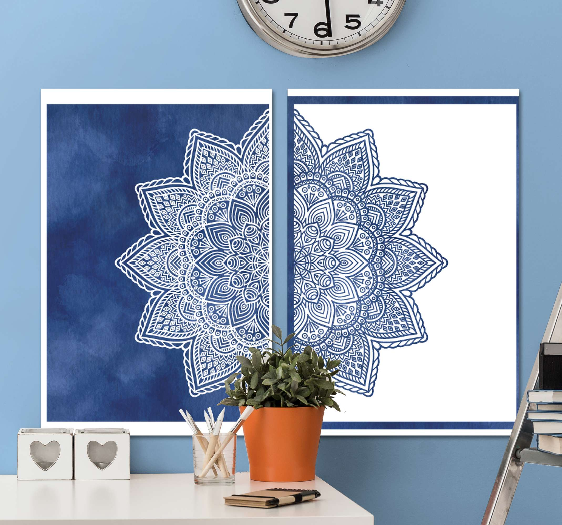 TenStickers. Blue Shade mandala print wall art. Mandala canvas print which features a beautiful mandala star spread across two canvases. Worldwide delivery available now.